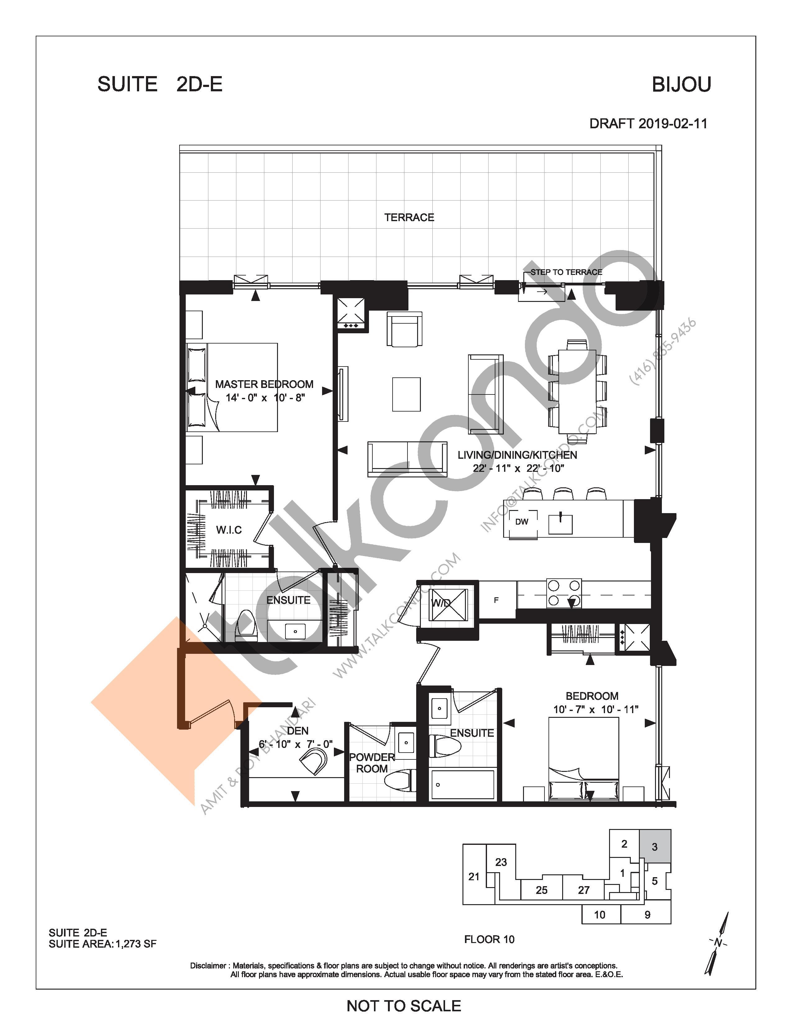 Suite 2D-E (Terrace) Floor Plan at Bijou On Bloor Condos - 1273 sq.ft