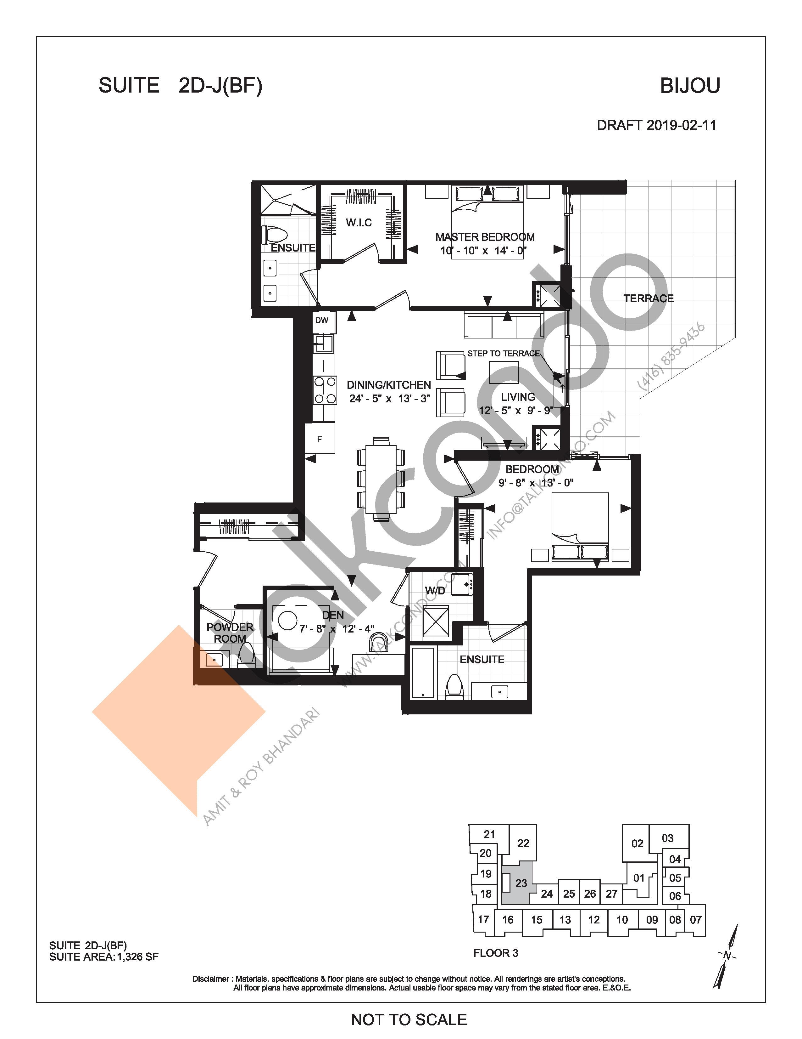 Suite 2D-J (Terrace) Floor Plan at Bijou On Bloor Condos - 1326 sq.ft