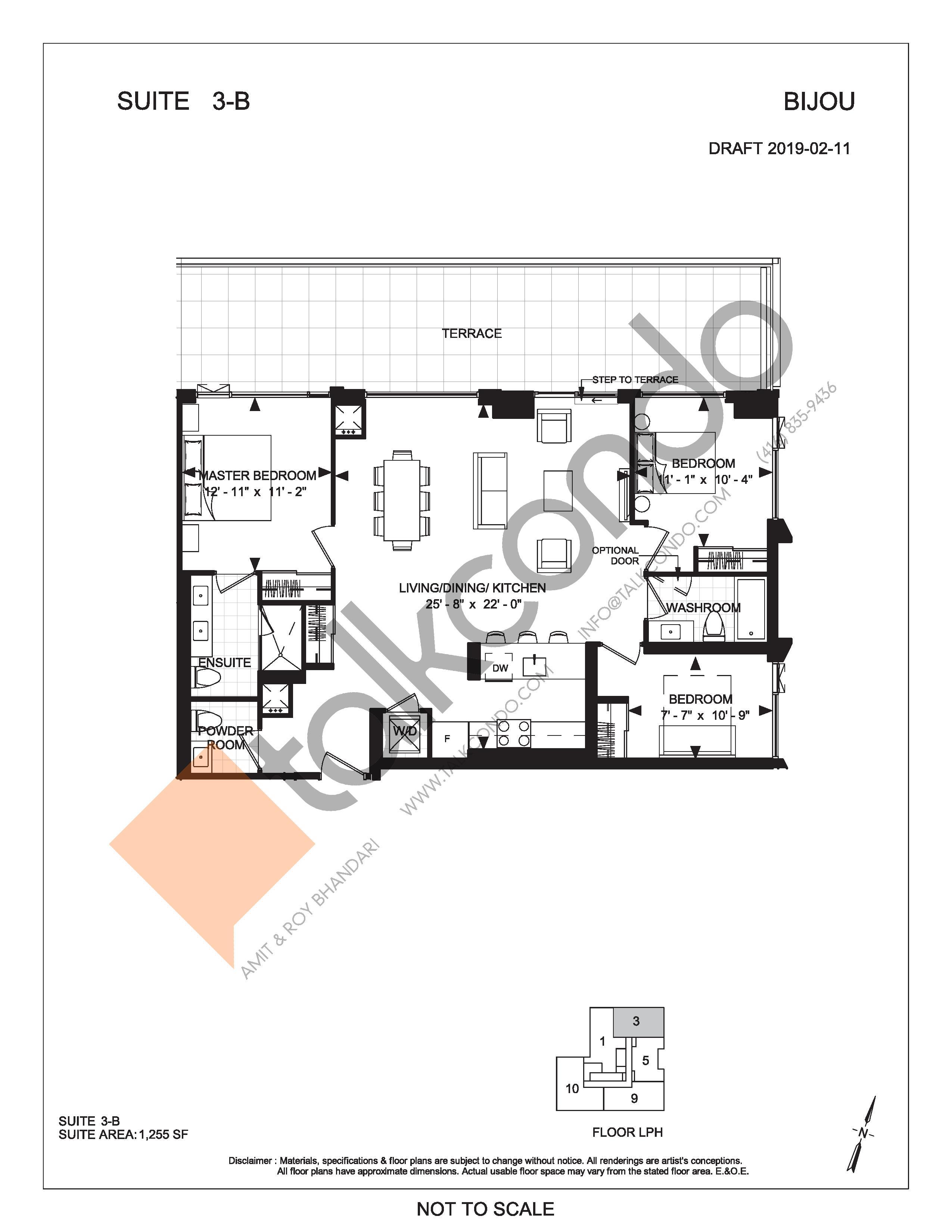 Suite 3-B (Terrace) Floor Plan at Bijou On Bloor Condos - 1255 sq.ft