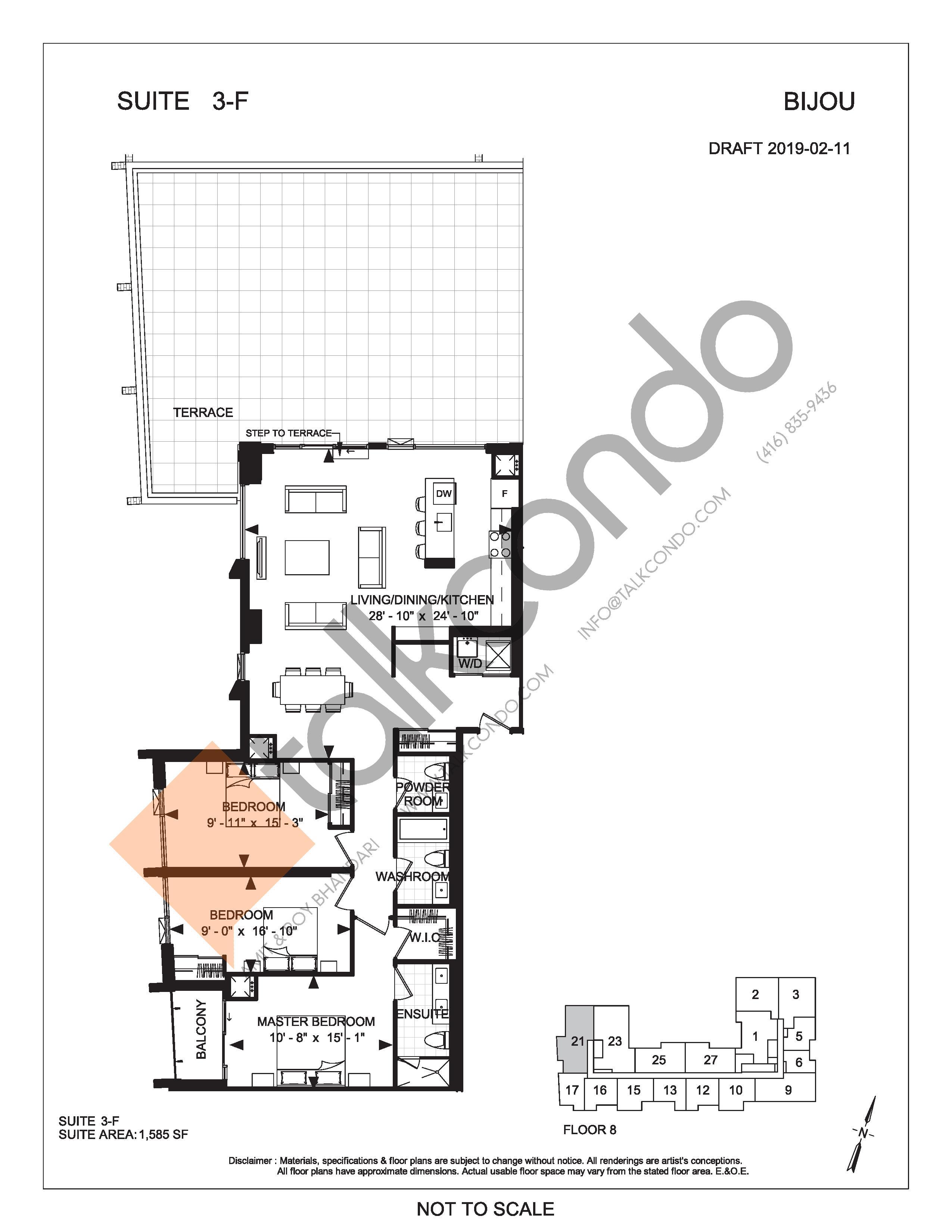 Suite 3-F (Terrace) Floor Plan at Bijou On Bloor Condos - 1585 sq.ft