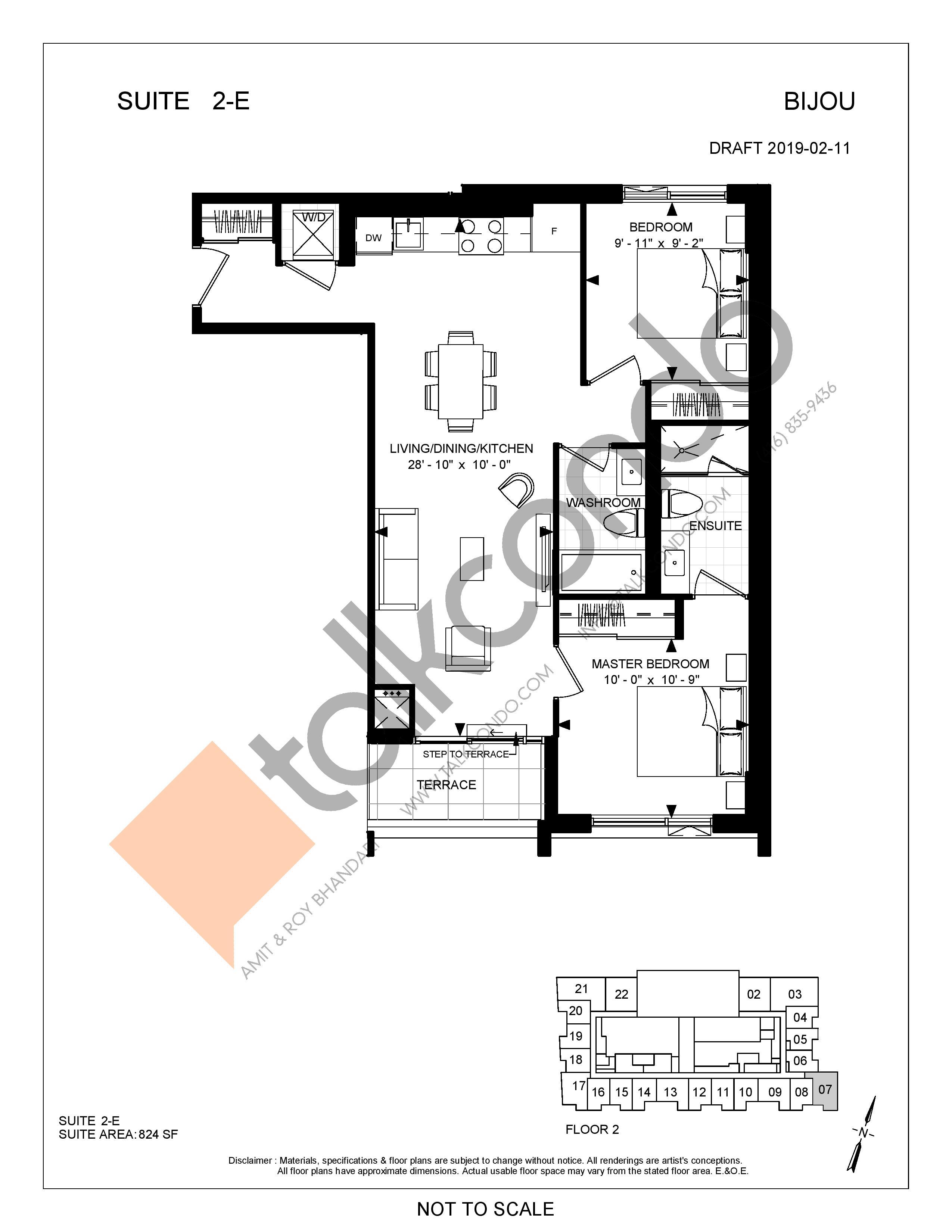 Suite 2-E Floor Plan at Bijou On Bloor Condos - 824 sq.ft
