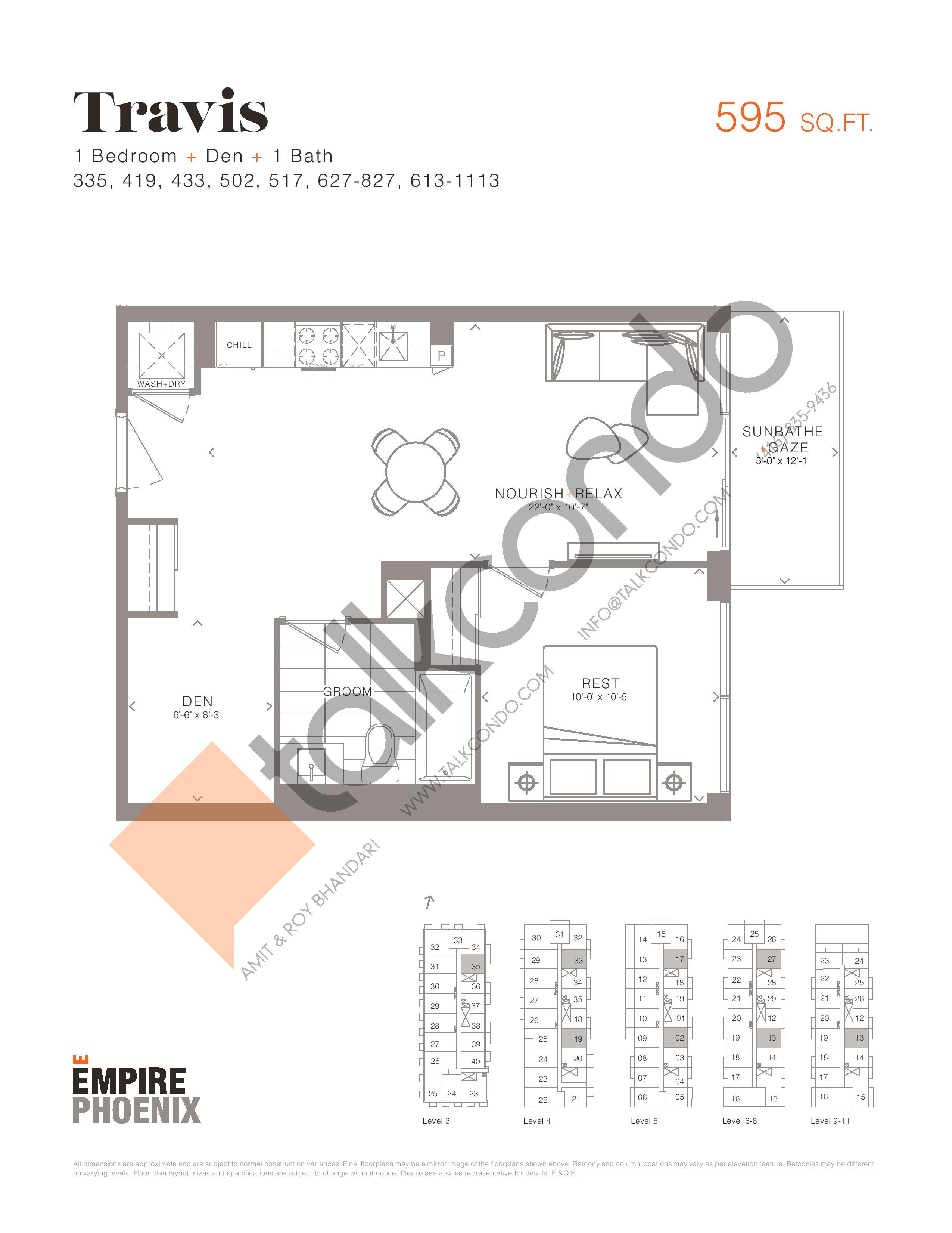 Travis Floor Plan at Empire Phoenix Phase 2 Condos - 595 sq.ft