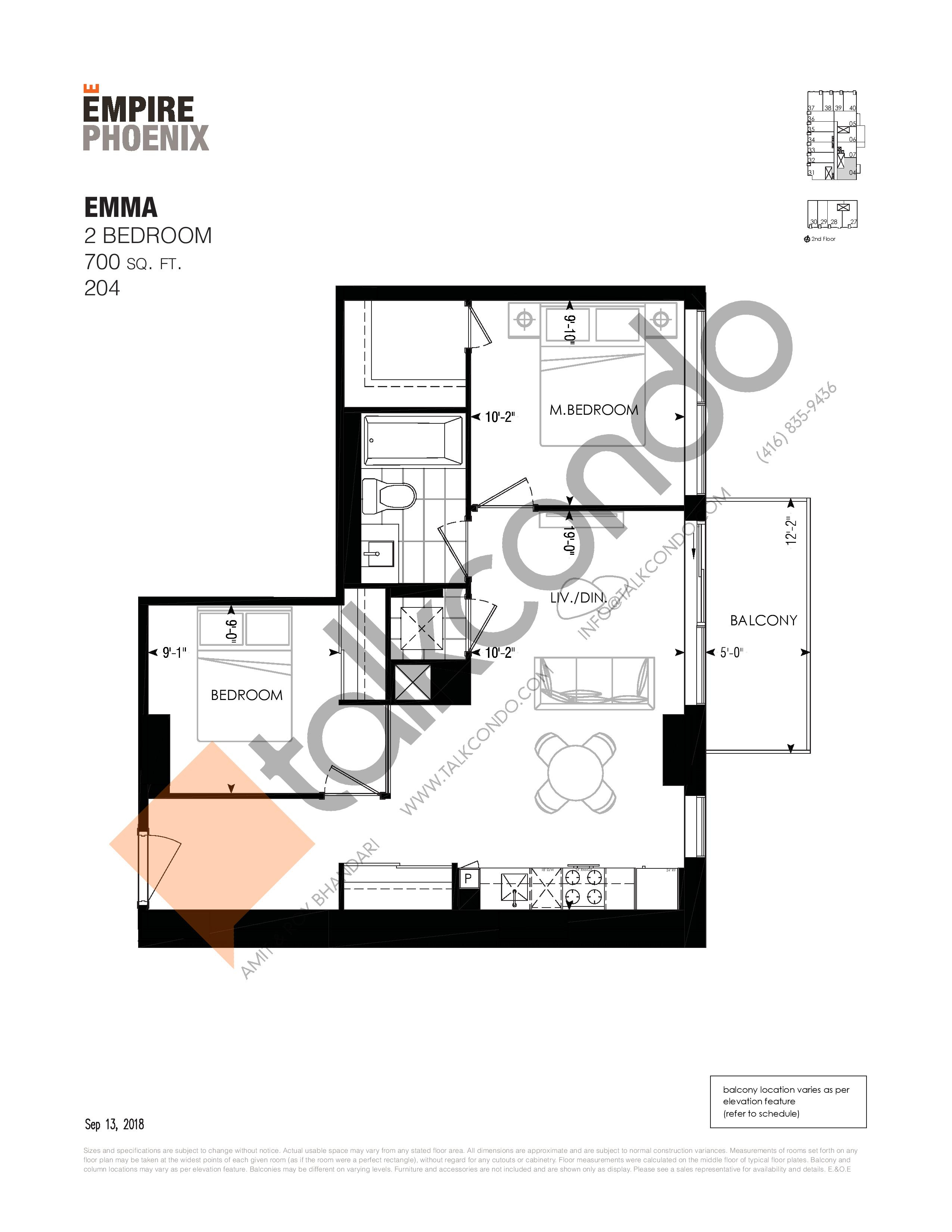 Emma Floor Plan at Empire Phoenix Phase 2 Condos - 700 sq.ft