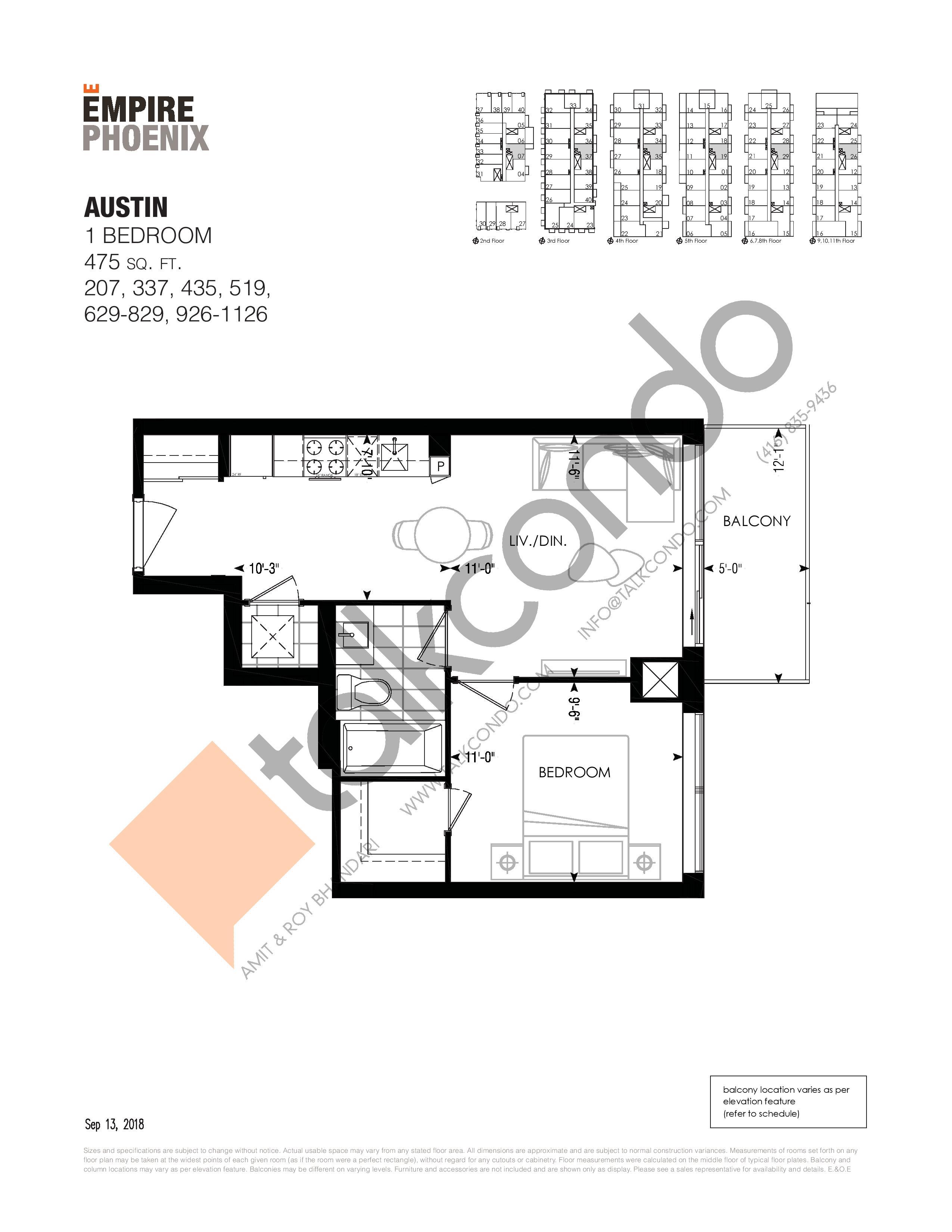 Austin Floor Plan at Empire Phoenix Phase 2 Condos - 475 sq.ft