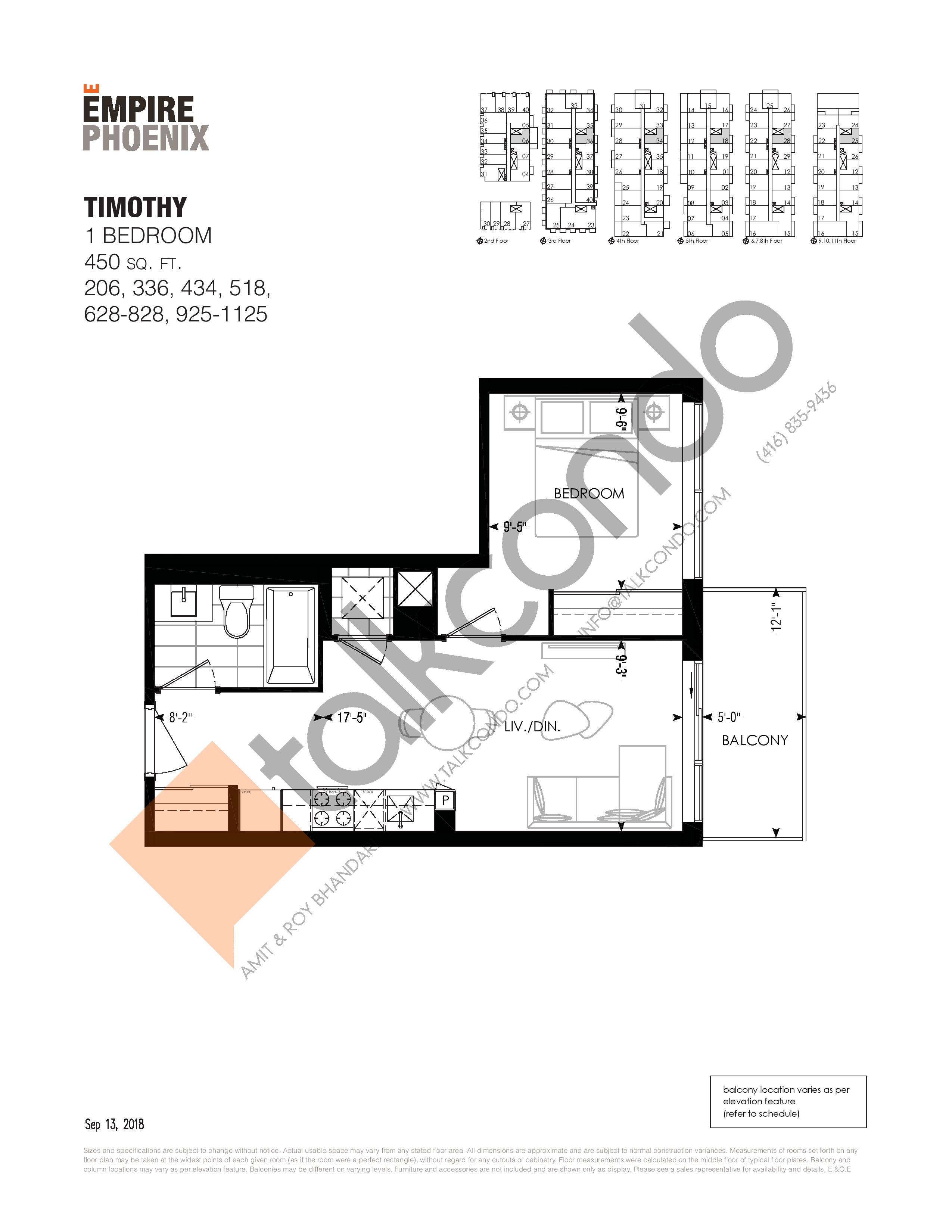 Timothy Floor Plan at Empire Phoenix Phase 2 Condos - 450 sq.ft