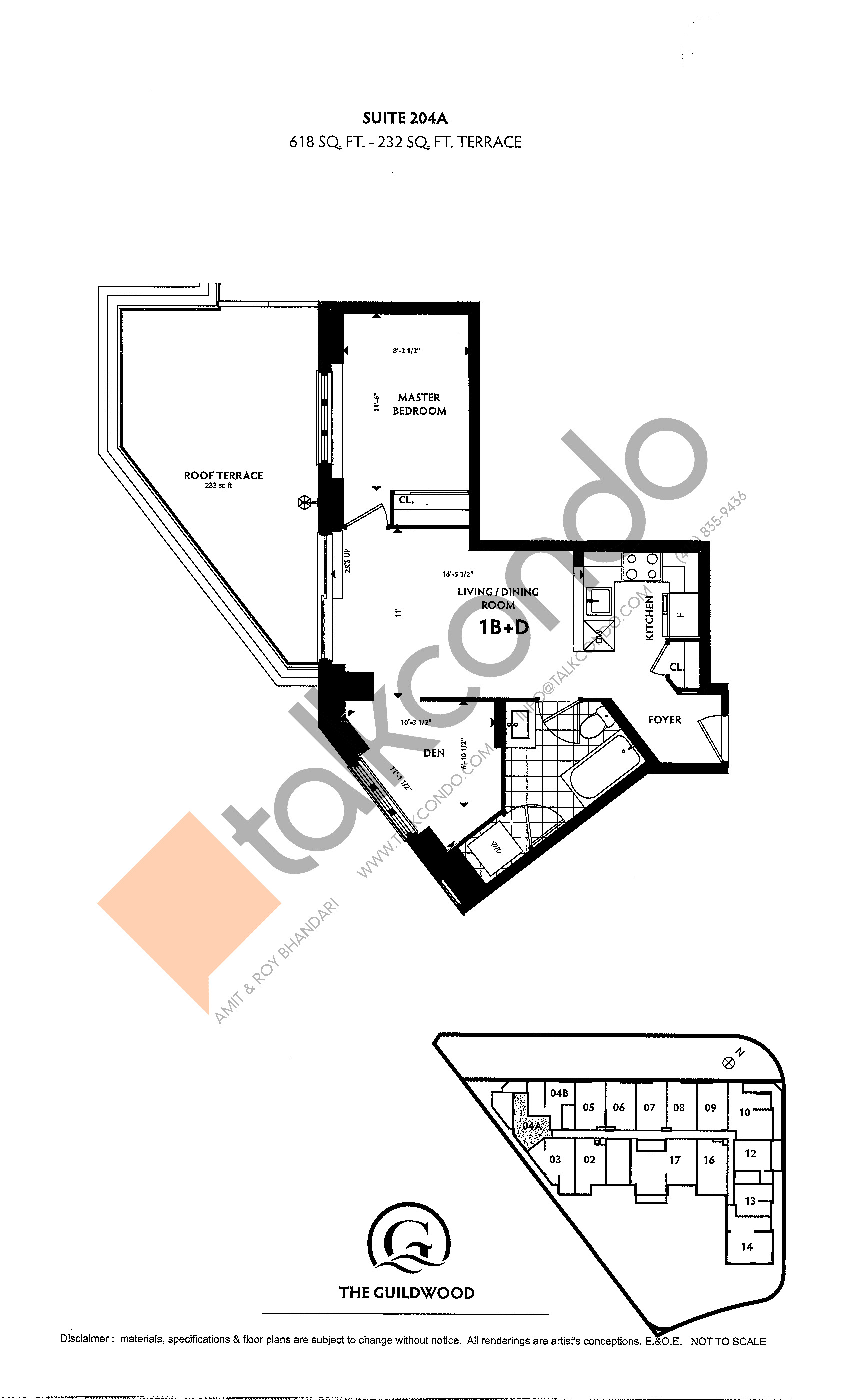 Suite 204A Floor Plan at Guildwood Condos - 618 sq.ft