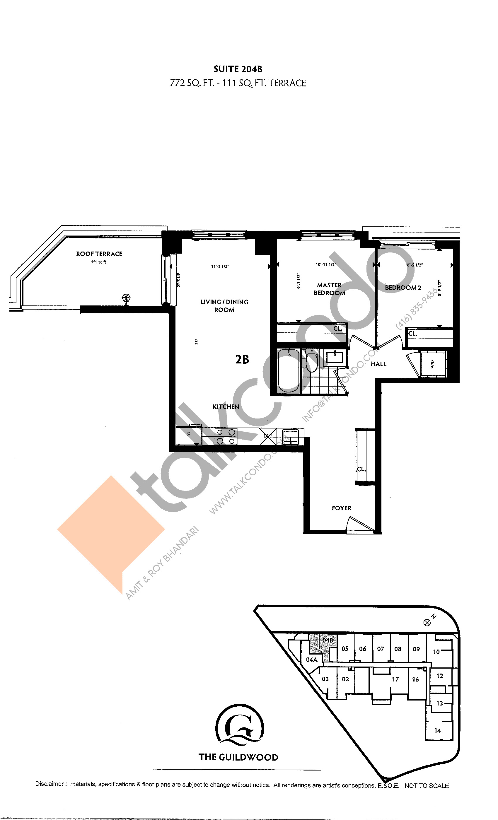 Suite 204B Floor Plan at Guildwood Condos - 772 sq.ft
