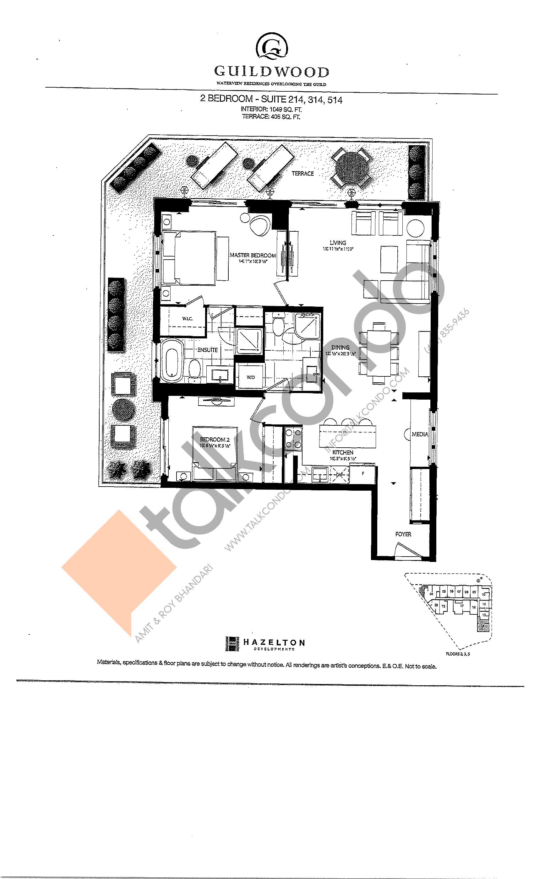Suite 214, 314, 514 Floor Plan at Guildwood Condos - 1049 sq.ft