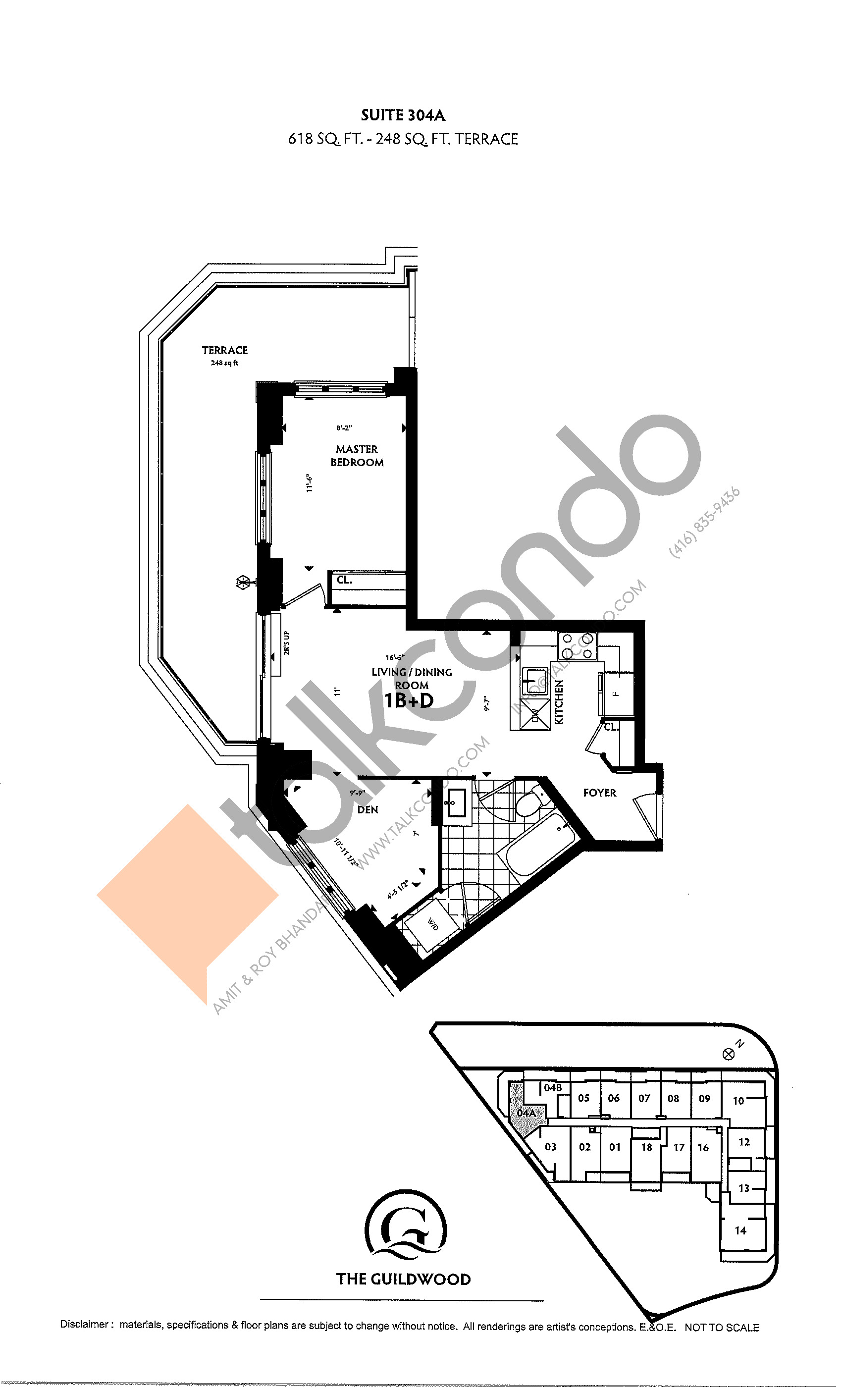 Suite 304A Floor Plan at Guildwood Condos - 618 sq.ft