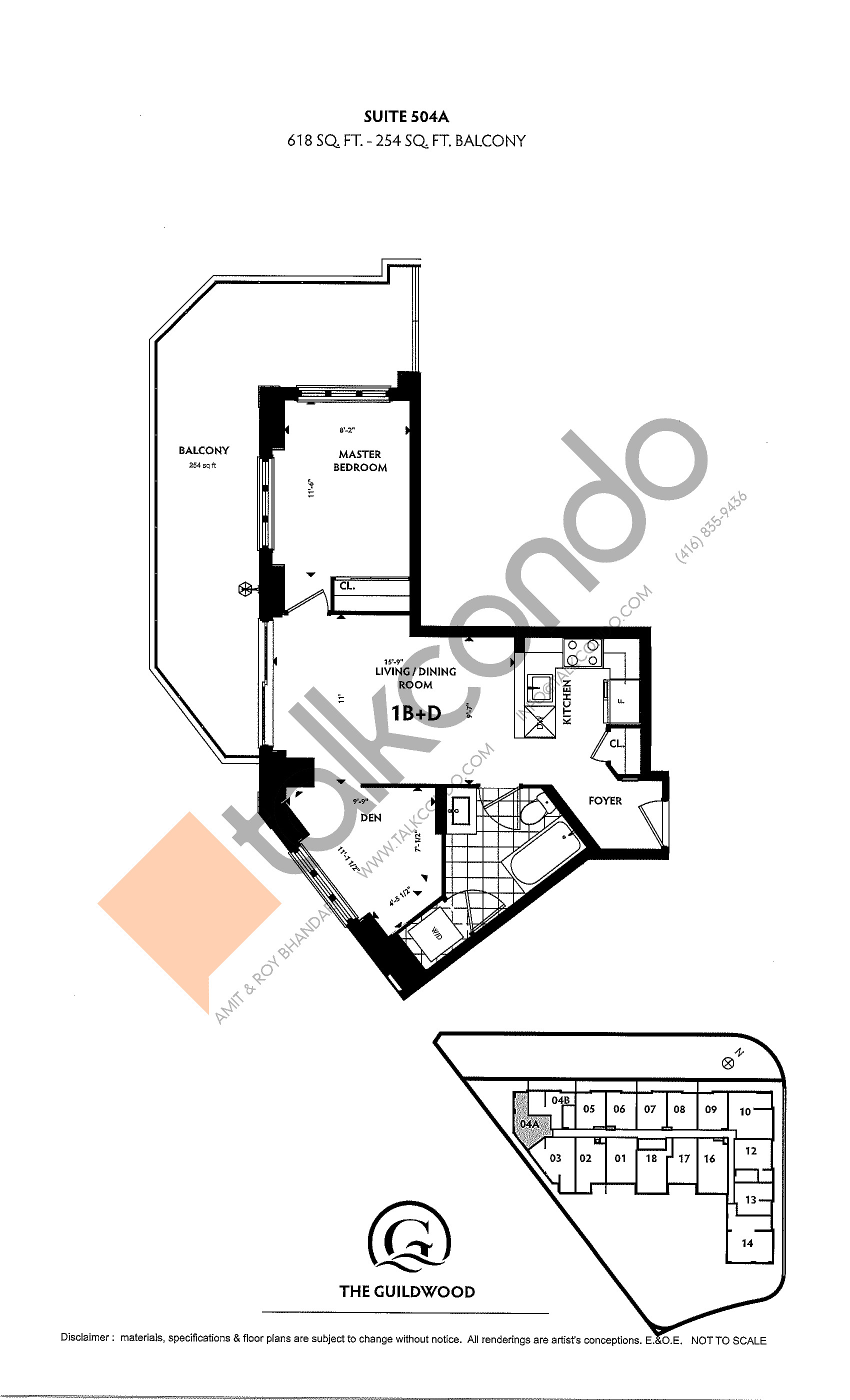 Suite 504A Floor Plan at Guildwood Condos - 618 sq.ft