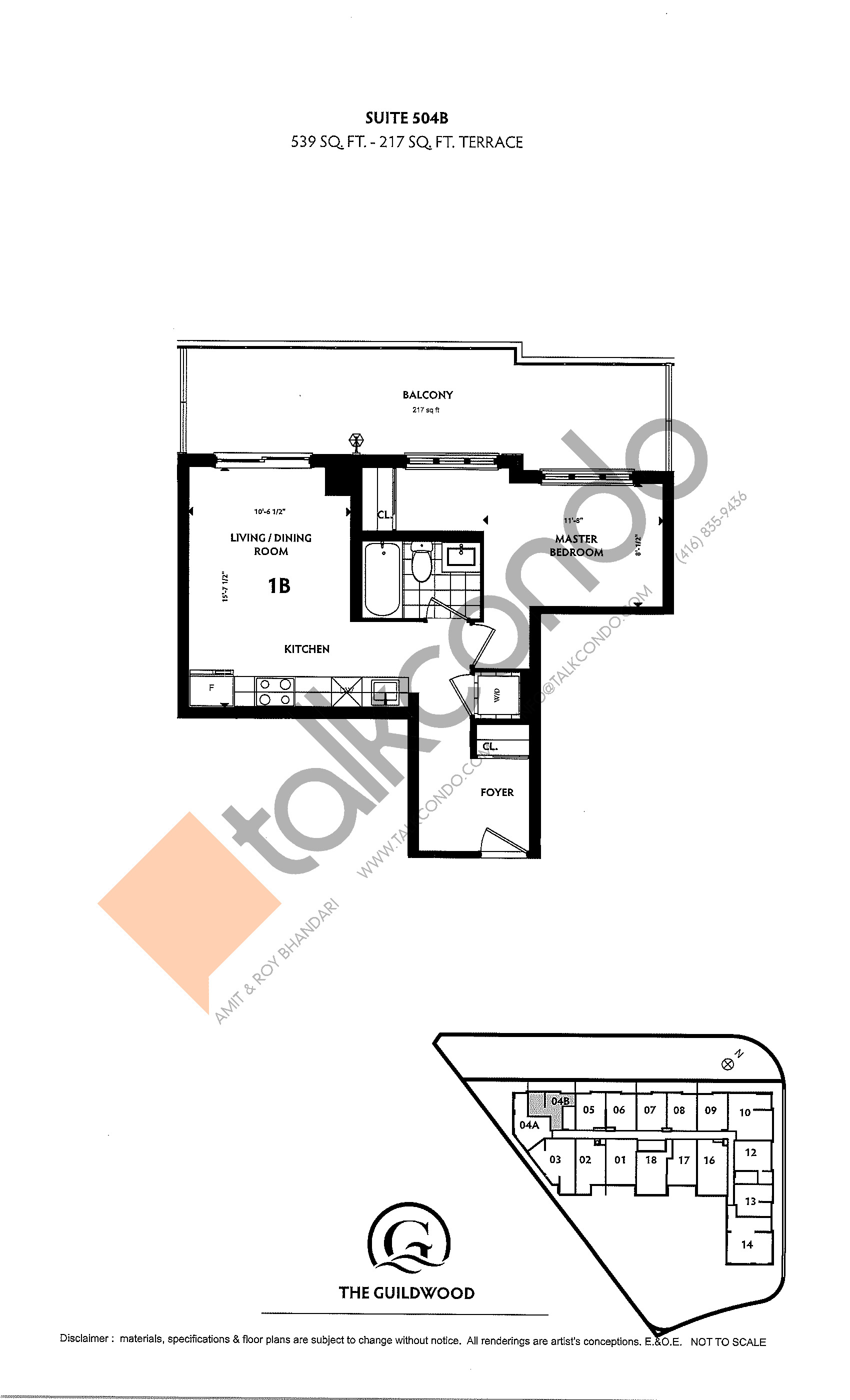 Suite 504B Floor Plan at Guildwood Condos - 539 sq.ft