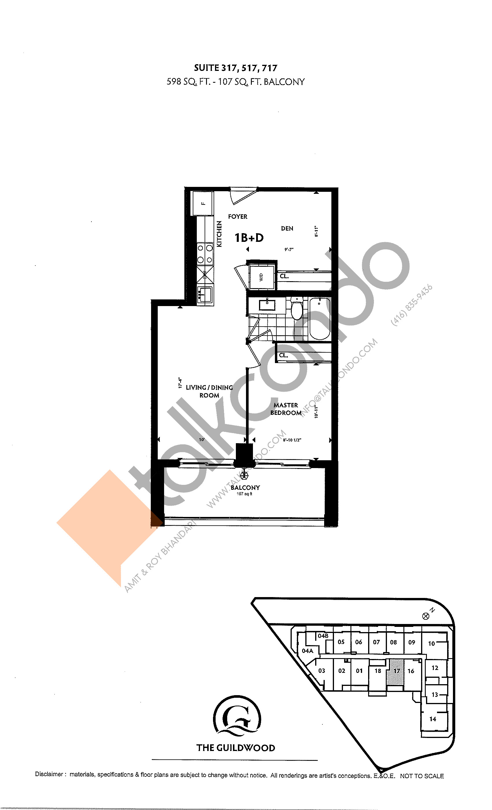 Suite 317, 517, 717 Floor Plan at Guildwood Condos - 598 sq.ft
