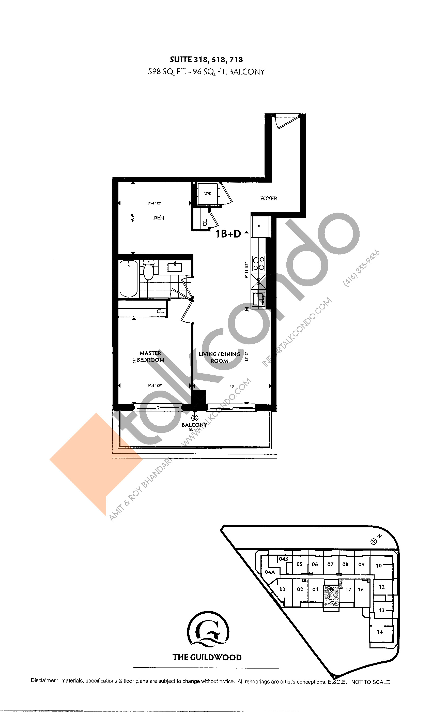 Suite 318, 518, 718 Floor Plan at Guildwood Condos - 598 sq.ft