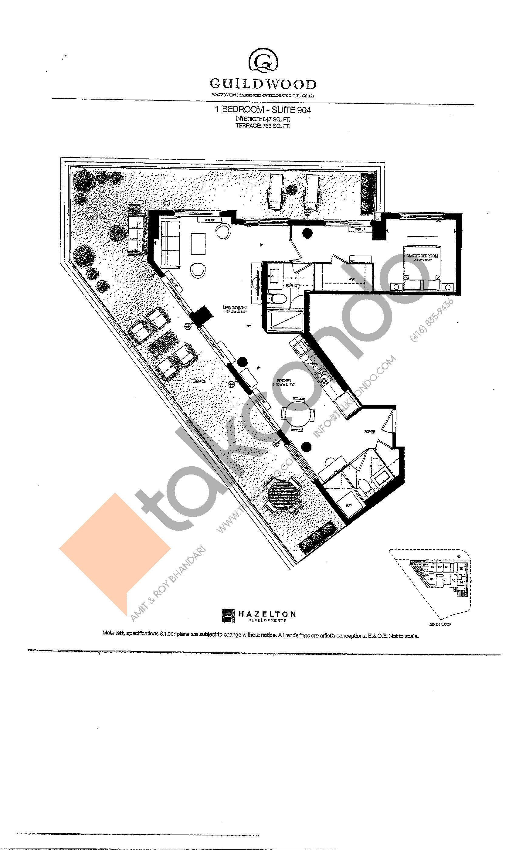 Suite 904 Floor Plan at Guildwood Condos - 847 sq.ft