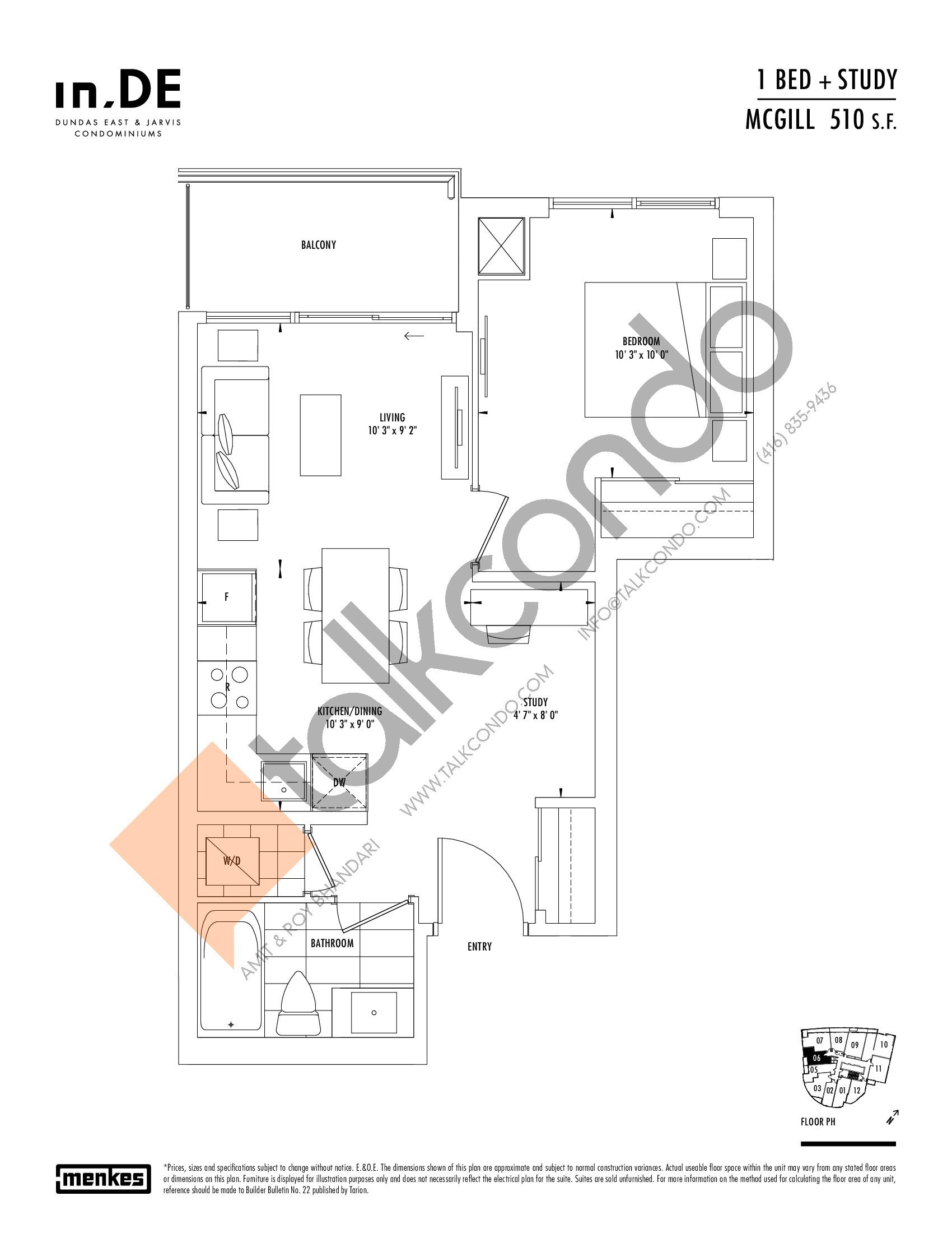McGill Floor Plan at in.DE Condos - 510 sq.ft