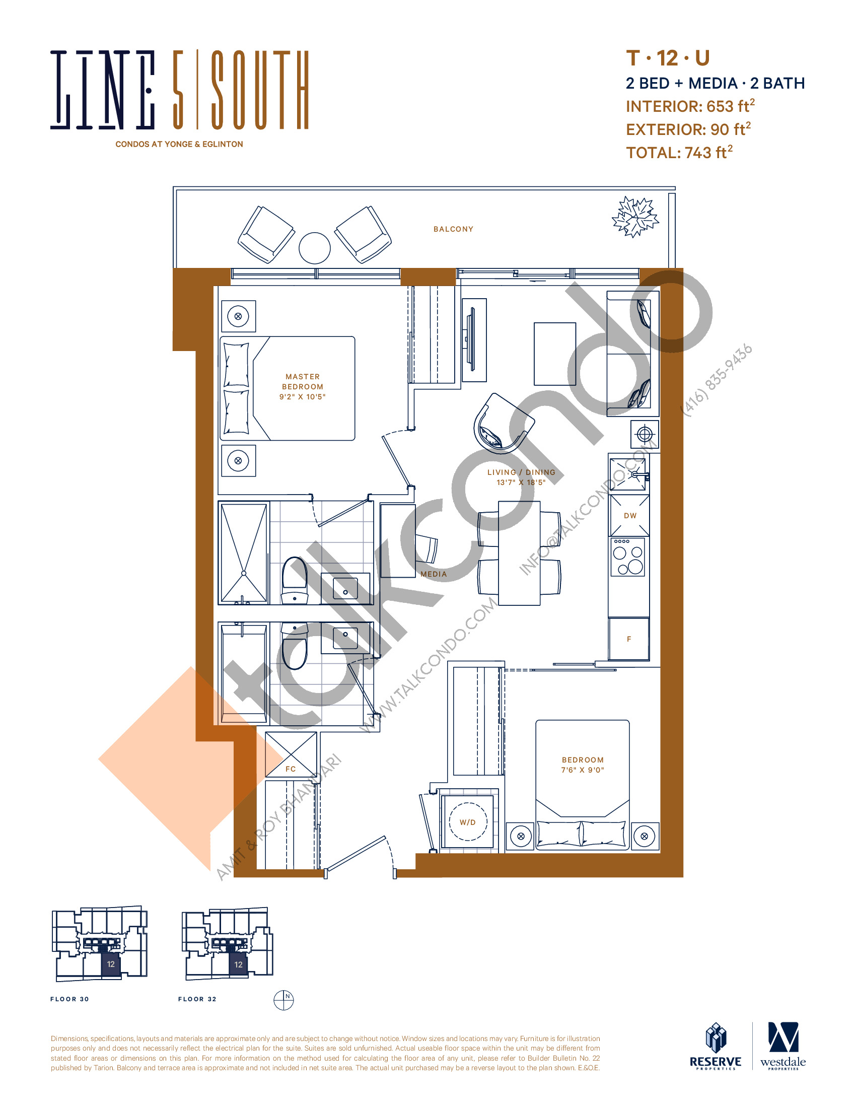 T-12-U Floor Plan at Line 5 South Tower Condos - 653 sq.ft