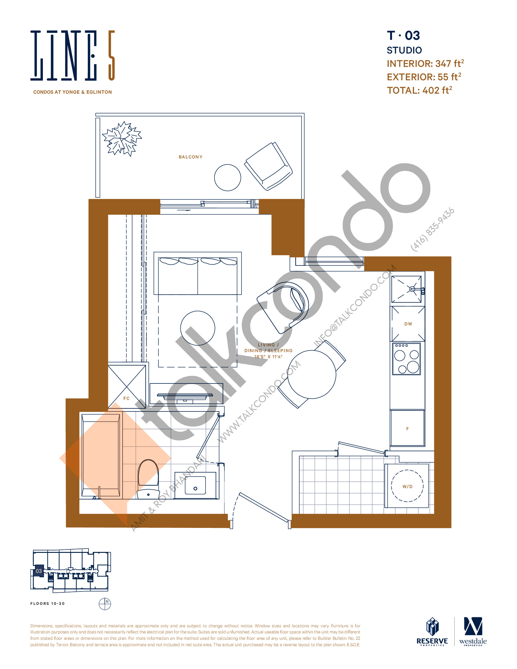 T-03 Floor Plan at Line 5 South Tower Condos - 347 sq.ft