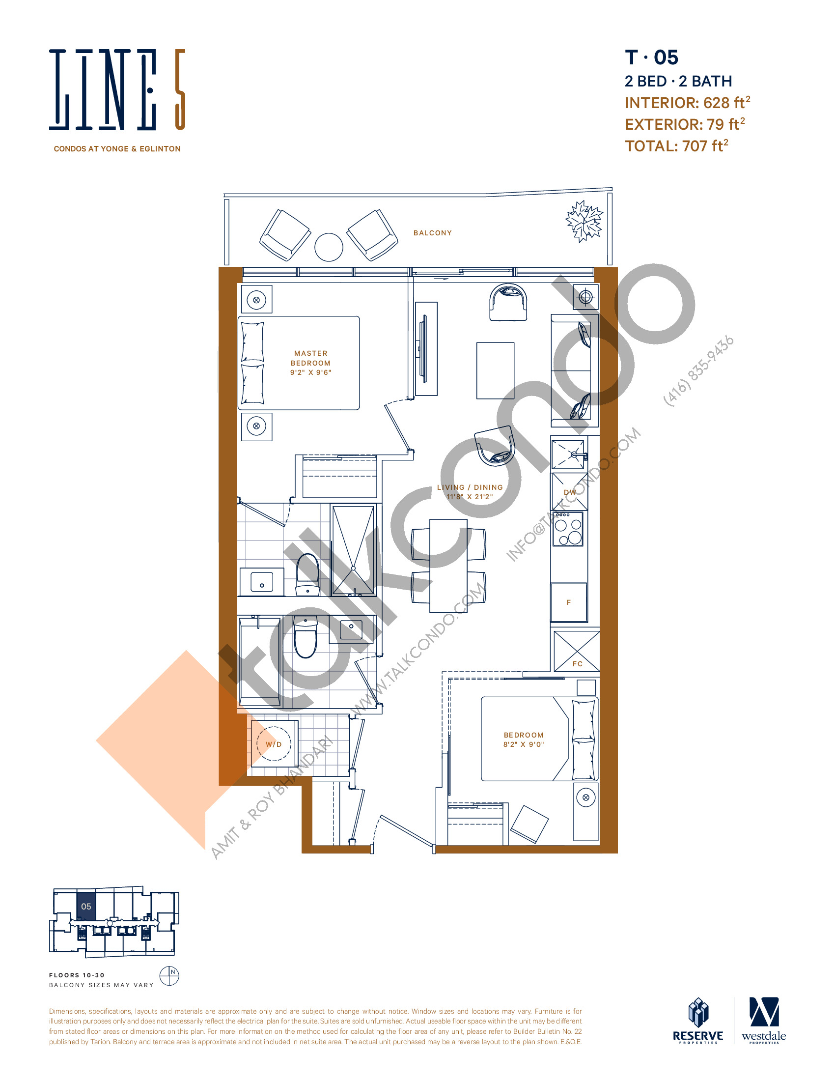 T-05 Floor Plan at Line 5 South Tower Condos - 628 sq.ft