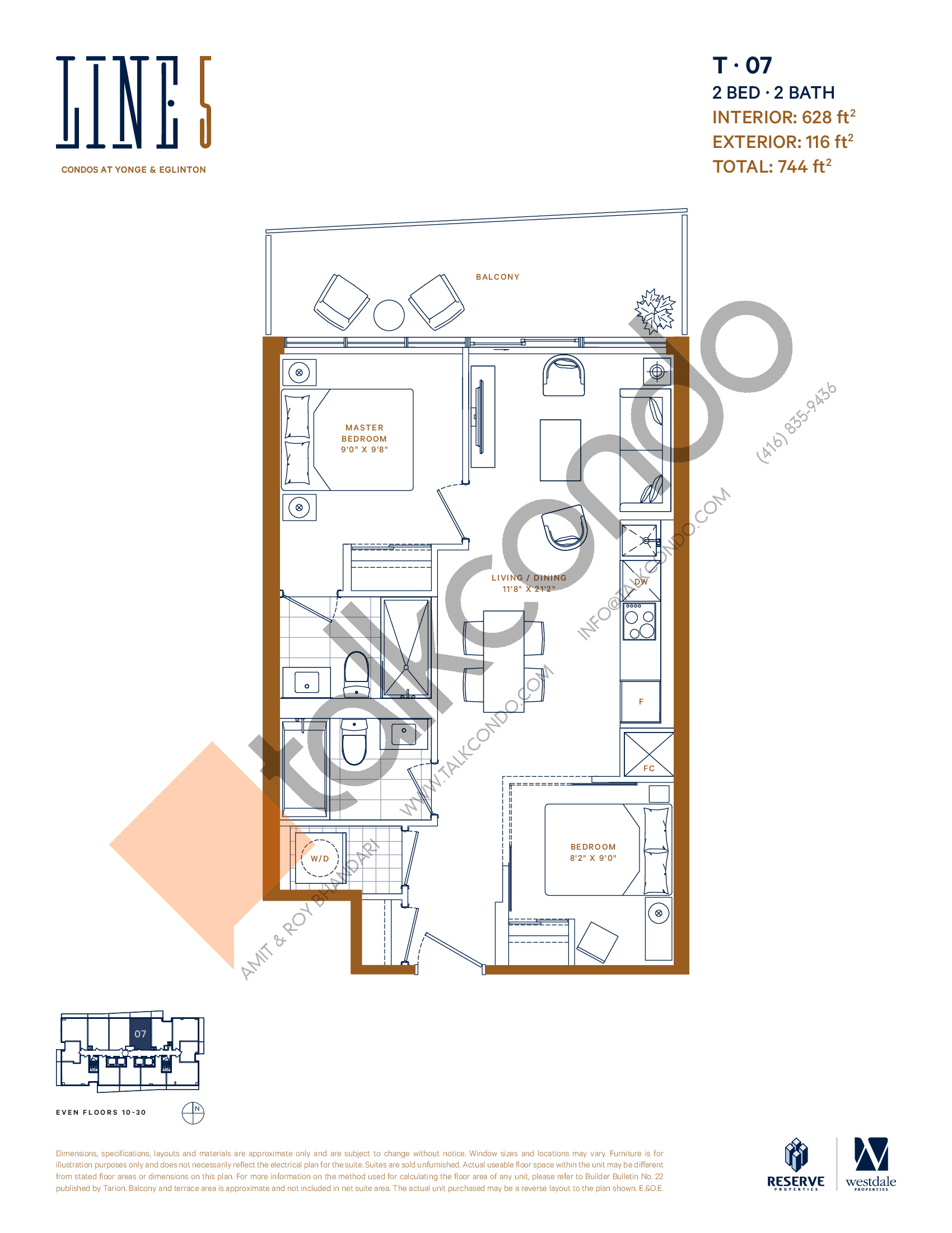 T-07 Floor Plan at Line 5 South Tower Condos - 628 sq.ft