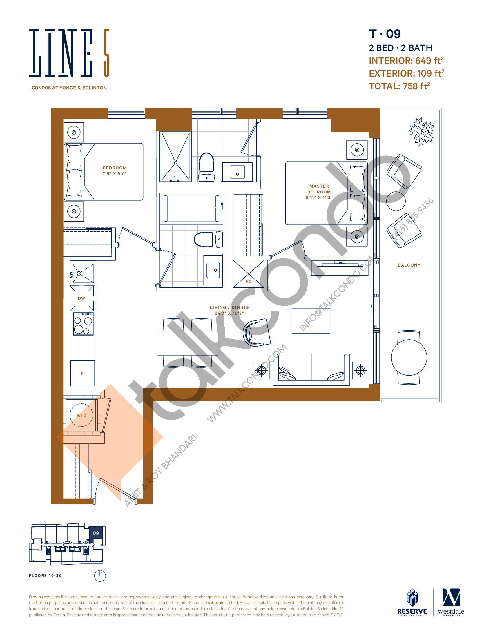 T-09 Floor Plan at Line 5 South Tower Condos - 649 sq.ft