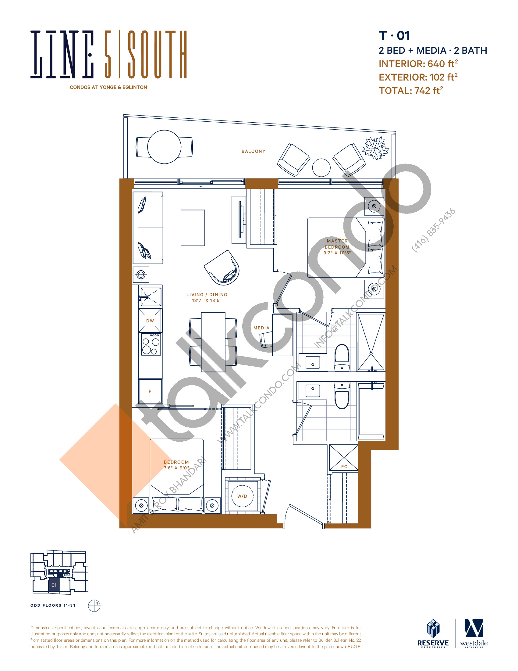 T-01 Floor Plan at Line 5 South Tower Condos - 640 sq.ft