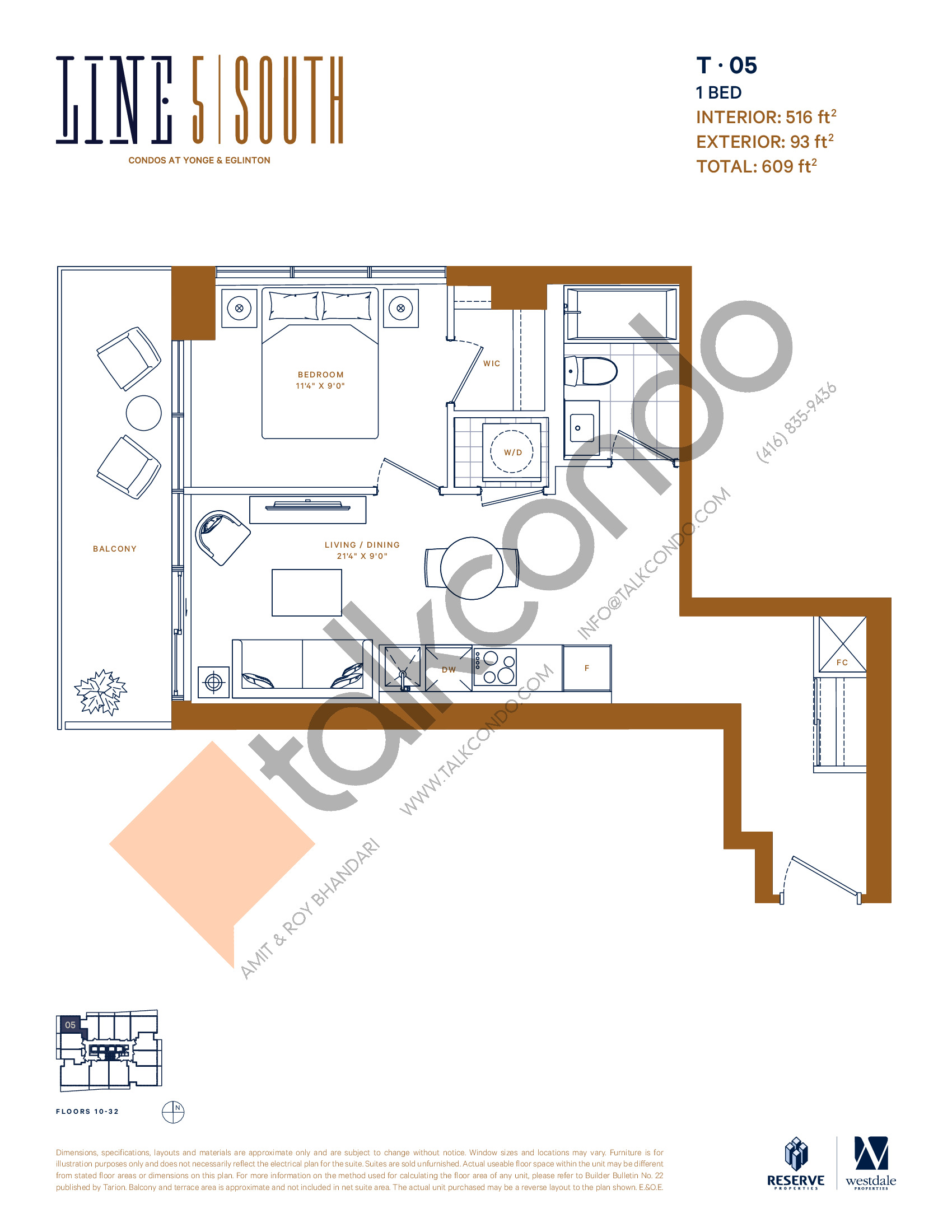 T-05 Floor Plan at Line 5 South Tower Condos - 516 sq.ft