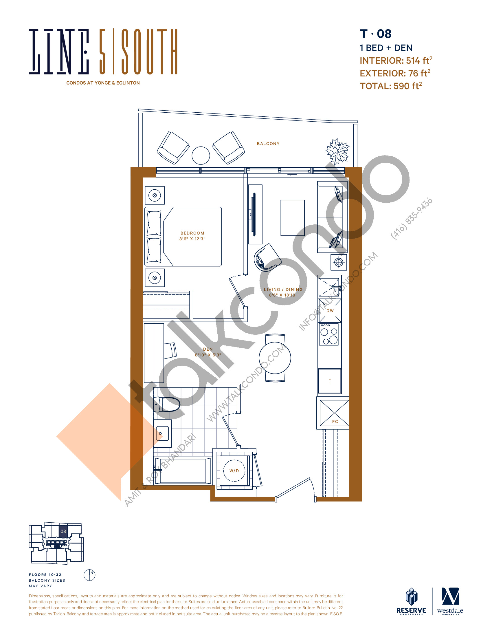 T-08 Floor Plan at Line 5 South Tower Condos - 514 sq.ft