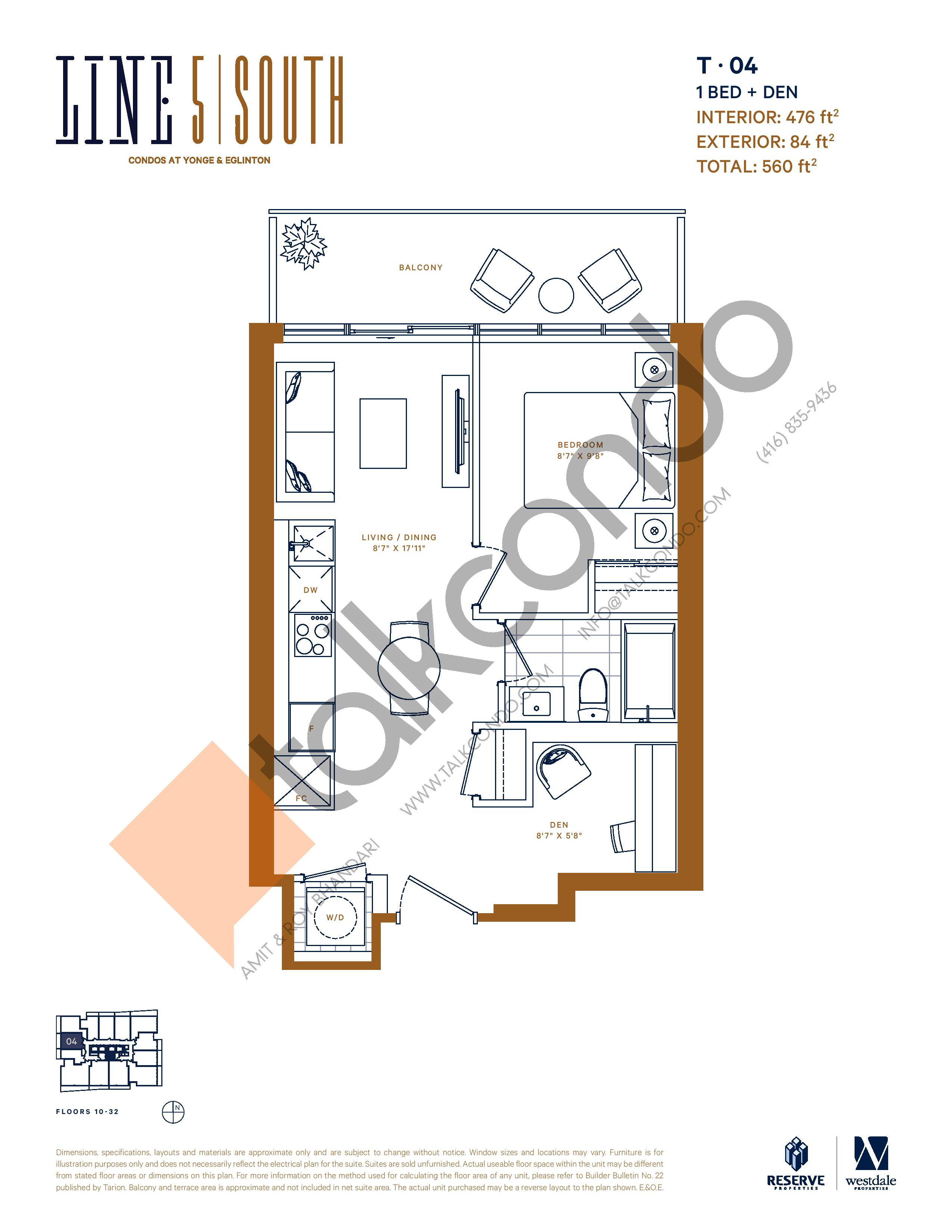 T-04 Floor Plan at Line 5 South Tower Condos - 476 sq.ft