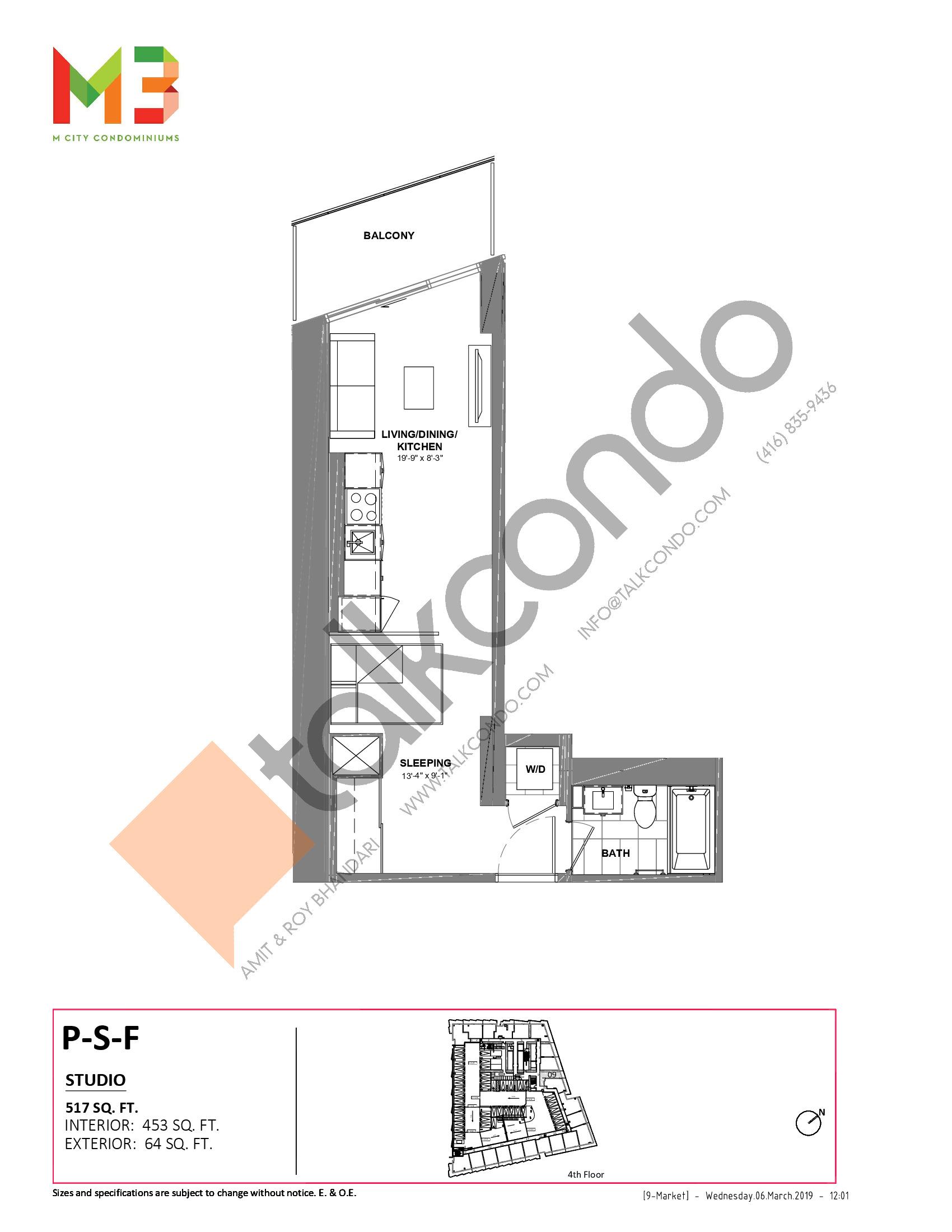 P-S-F Floor Plan at M3 Condos - 453 sq.ft