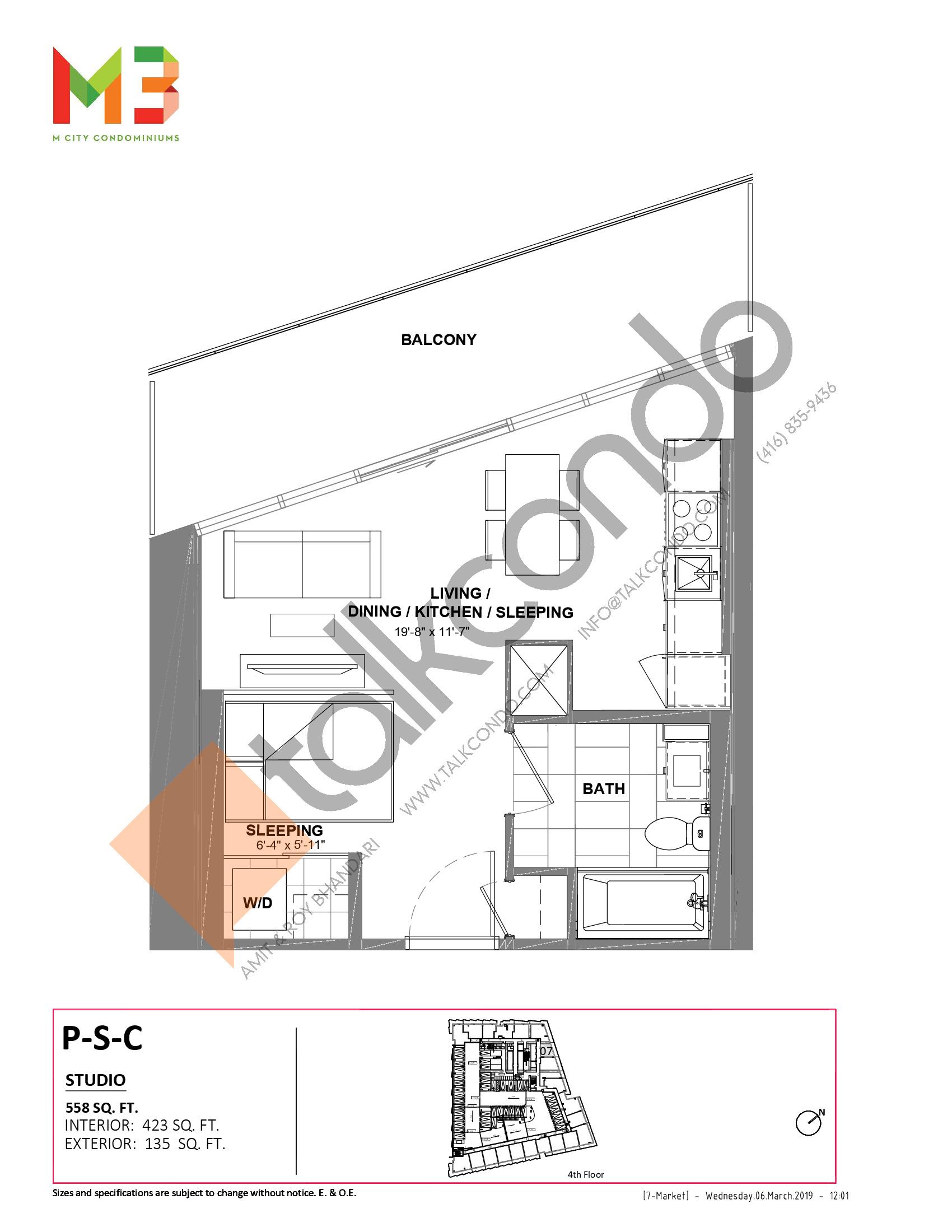 P-S-C Floor Plan at M3 Condos - 423 sq.ft