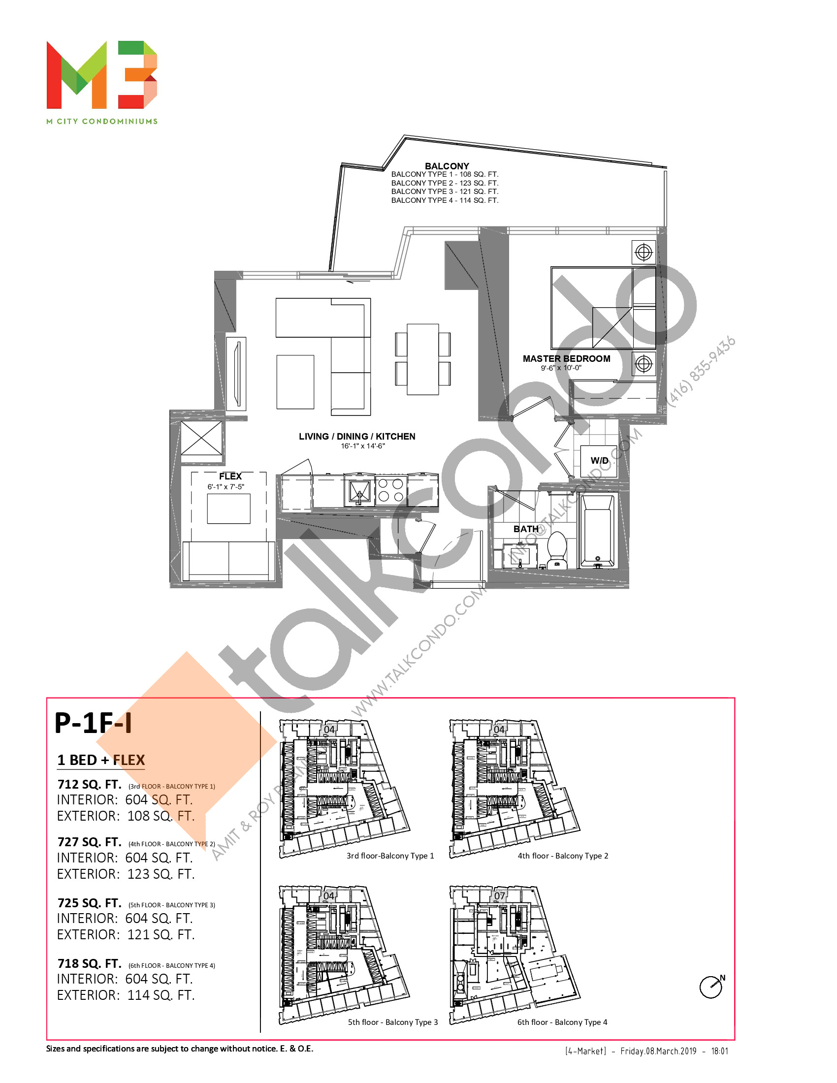P-1F-I Floor Plan at M3 Condos - 604 sq.ft