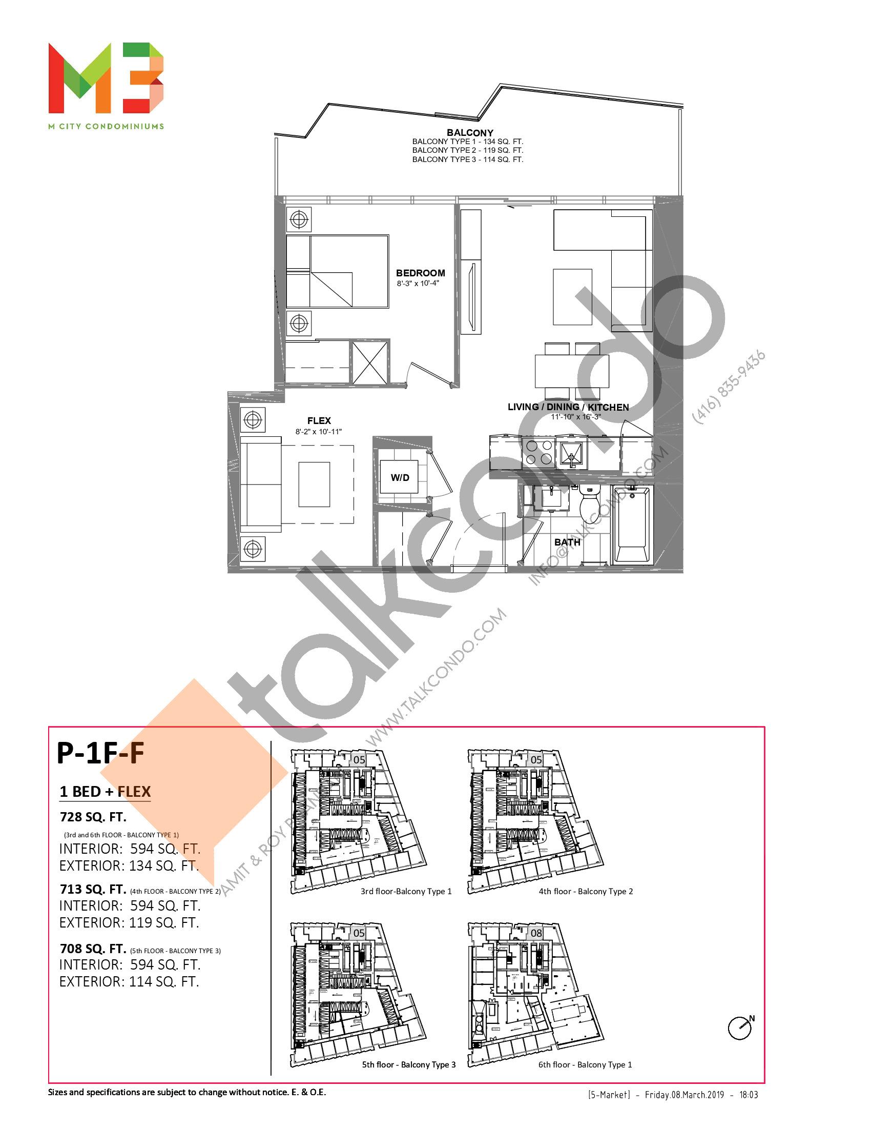 P-1F-F Floor Plan at M3 Condos - 594 sq.ft