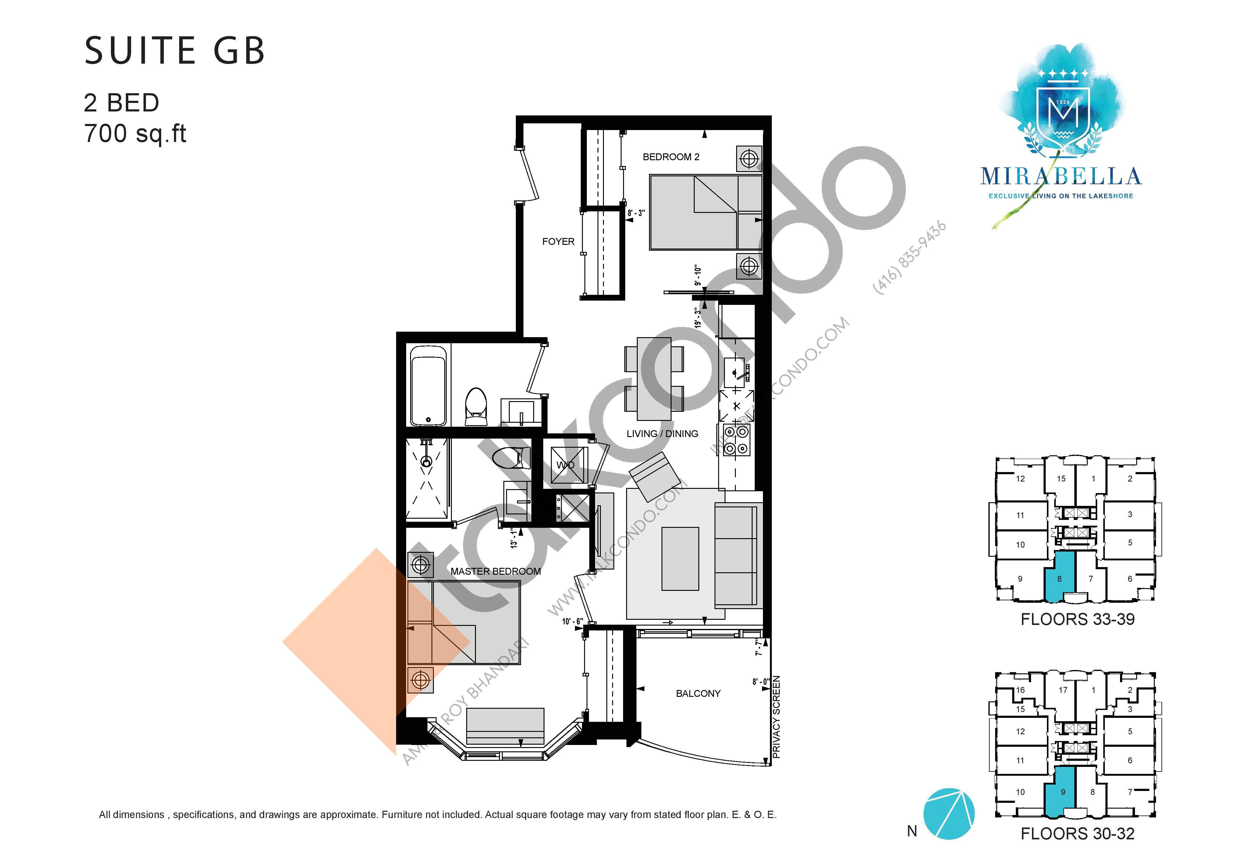 Suite GB Floor Plan at Mirabella Luxury Condos East Tower - 700 sq.ft