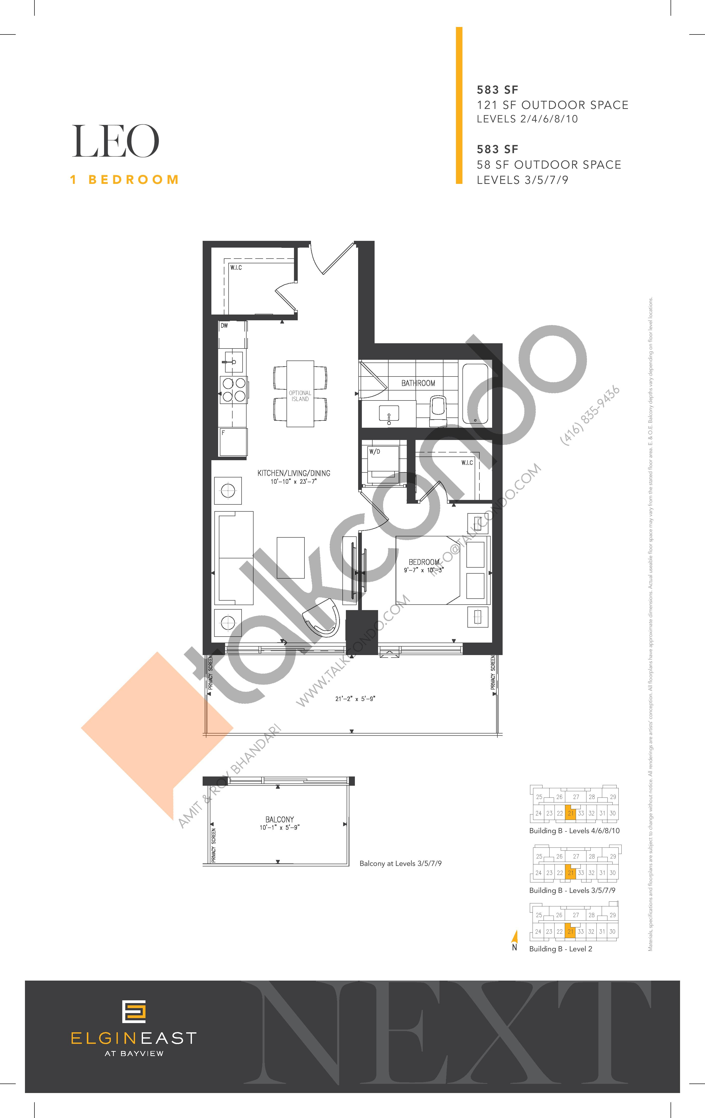 Leo Floor Plan at NEXT - Elgin East Phase 2 Condos - 583 sq.ft