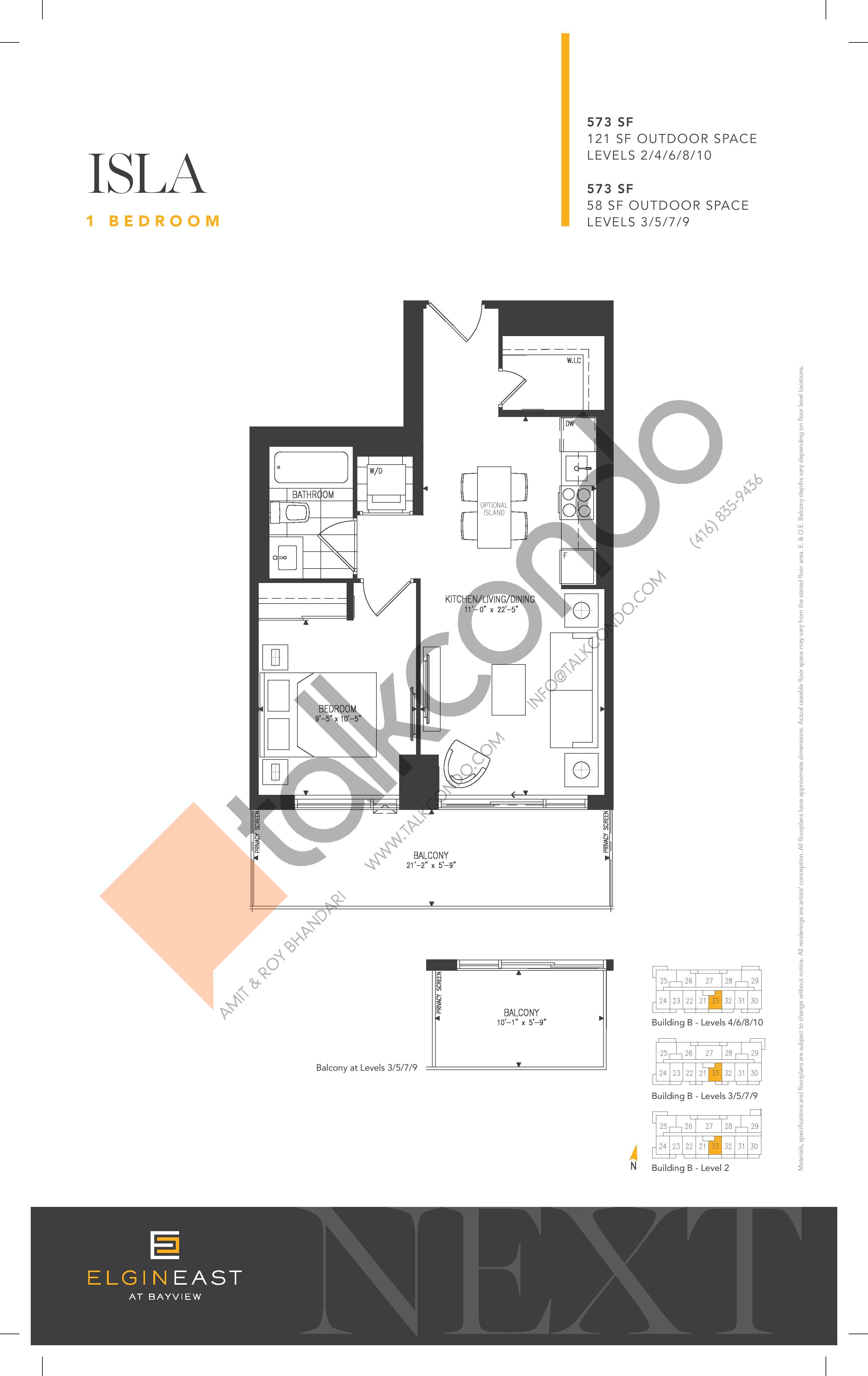 Isla Floor Plan at NEXT - Elgin East Phase 2 Condos - 573 sq.ft