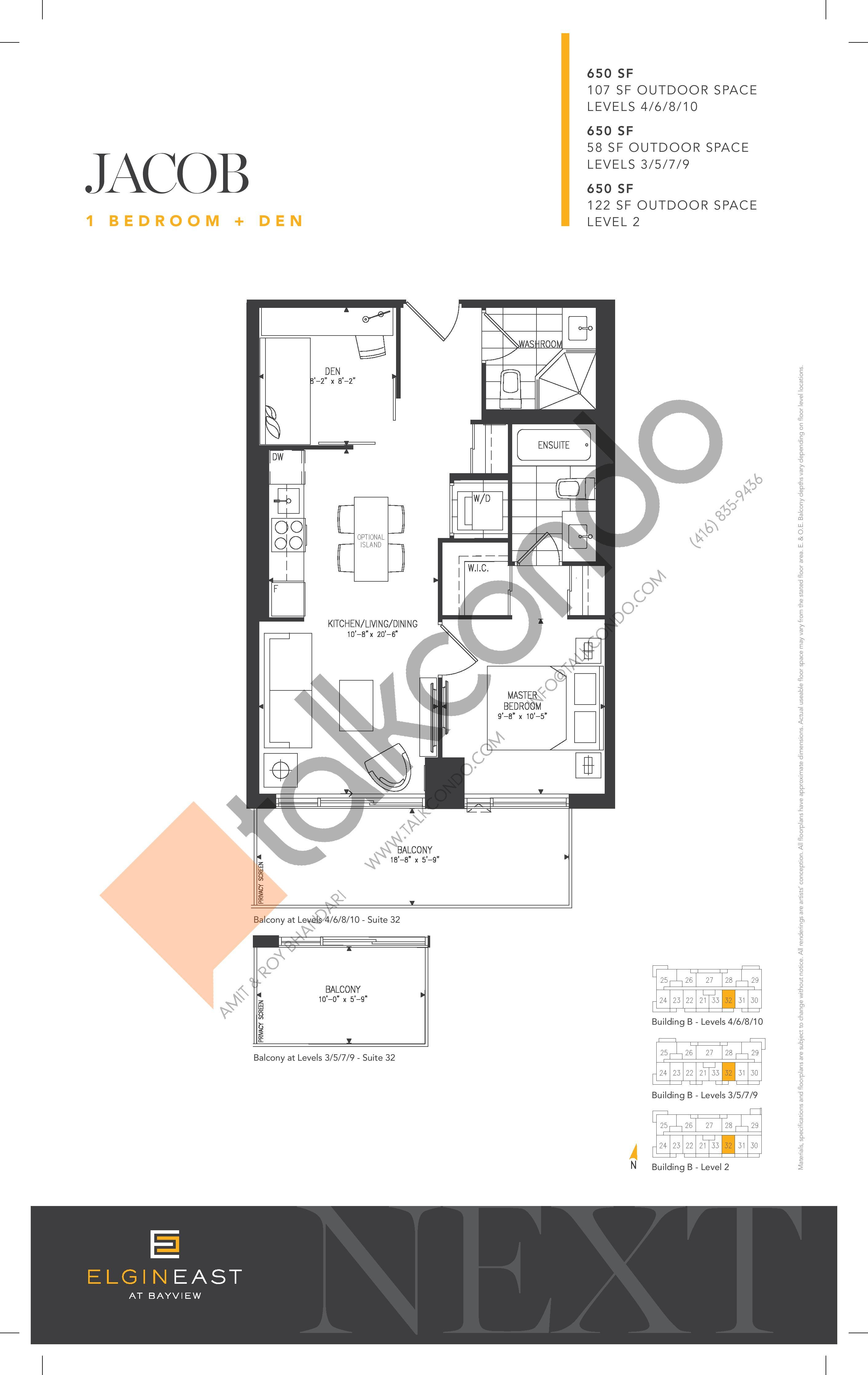 Jacob Floor Plan at NEXT - Elgin East Phase 2 Condos - 650 sq.ft