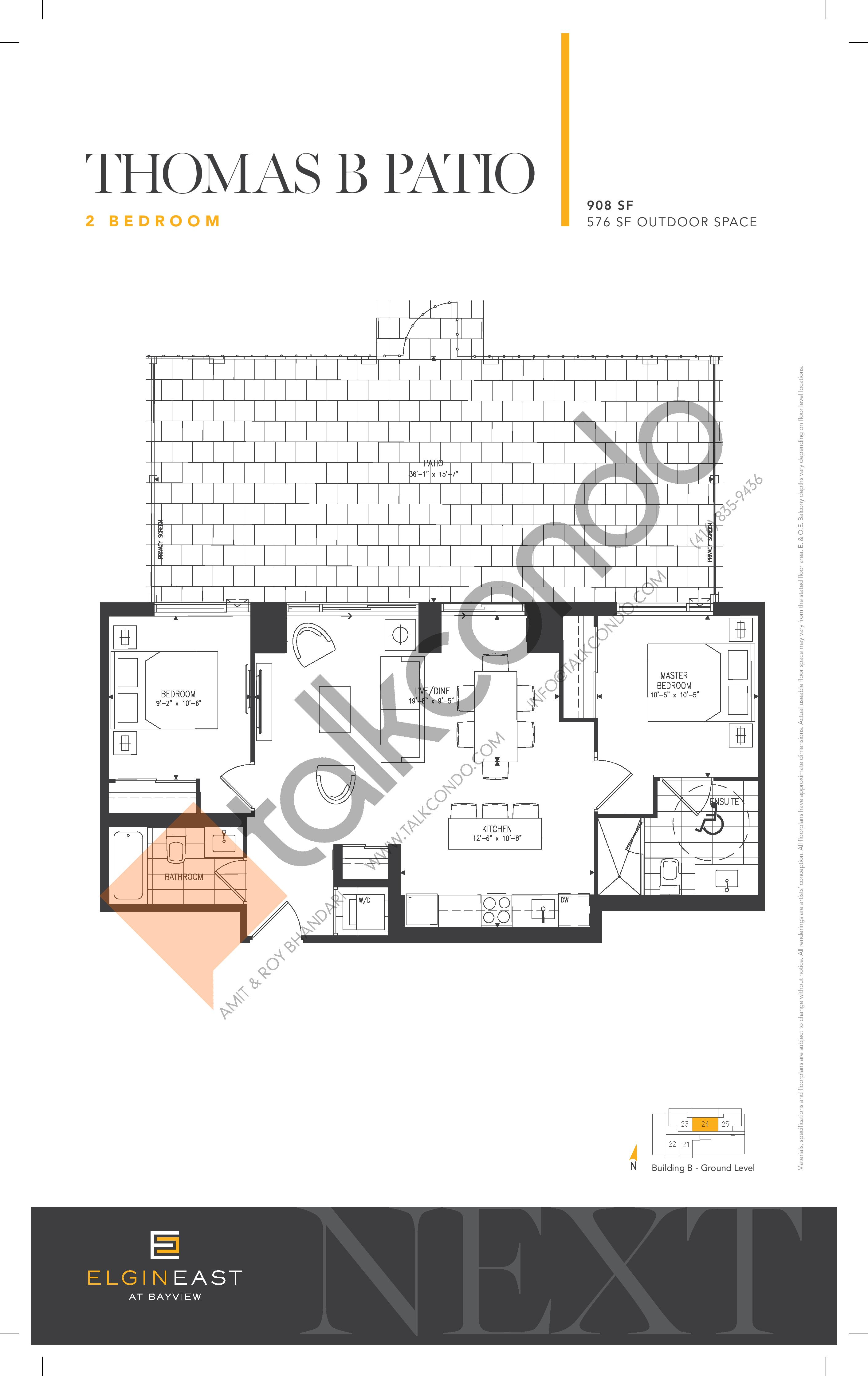 Thomas B Patio Floor Plan at NEXT - Elgin East Phase 2 Condos - 908 sq.ft