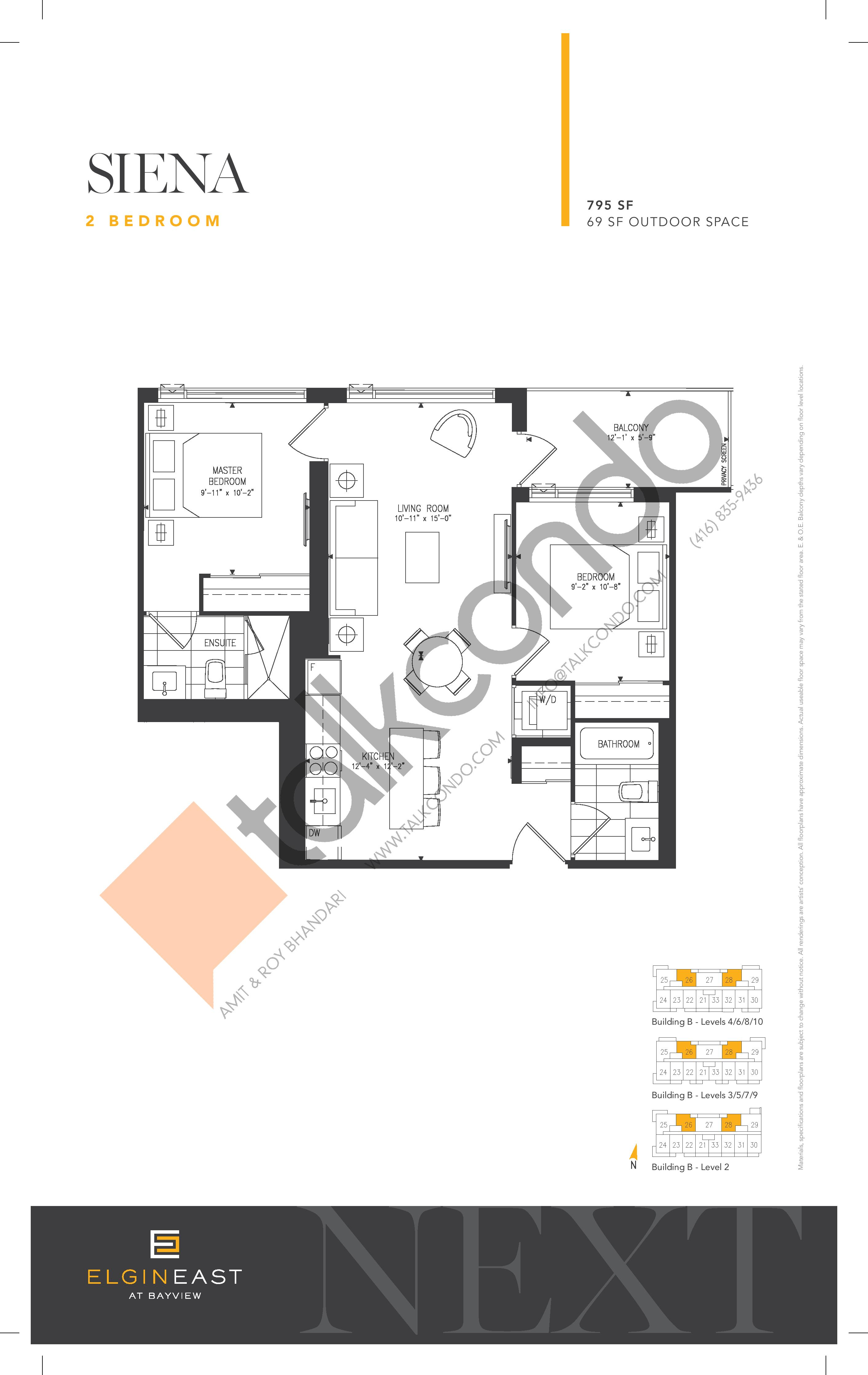 Siena Floor Plan at NEXT - Elgin East Phase 2 Condos - 795 sq.ft