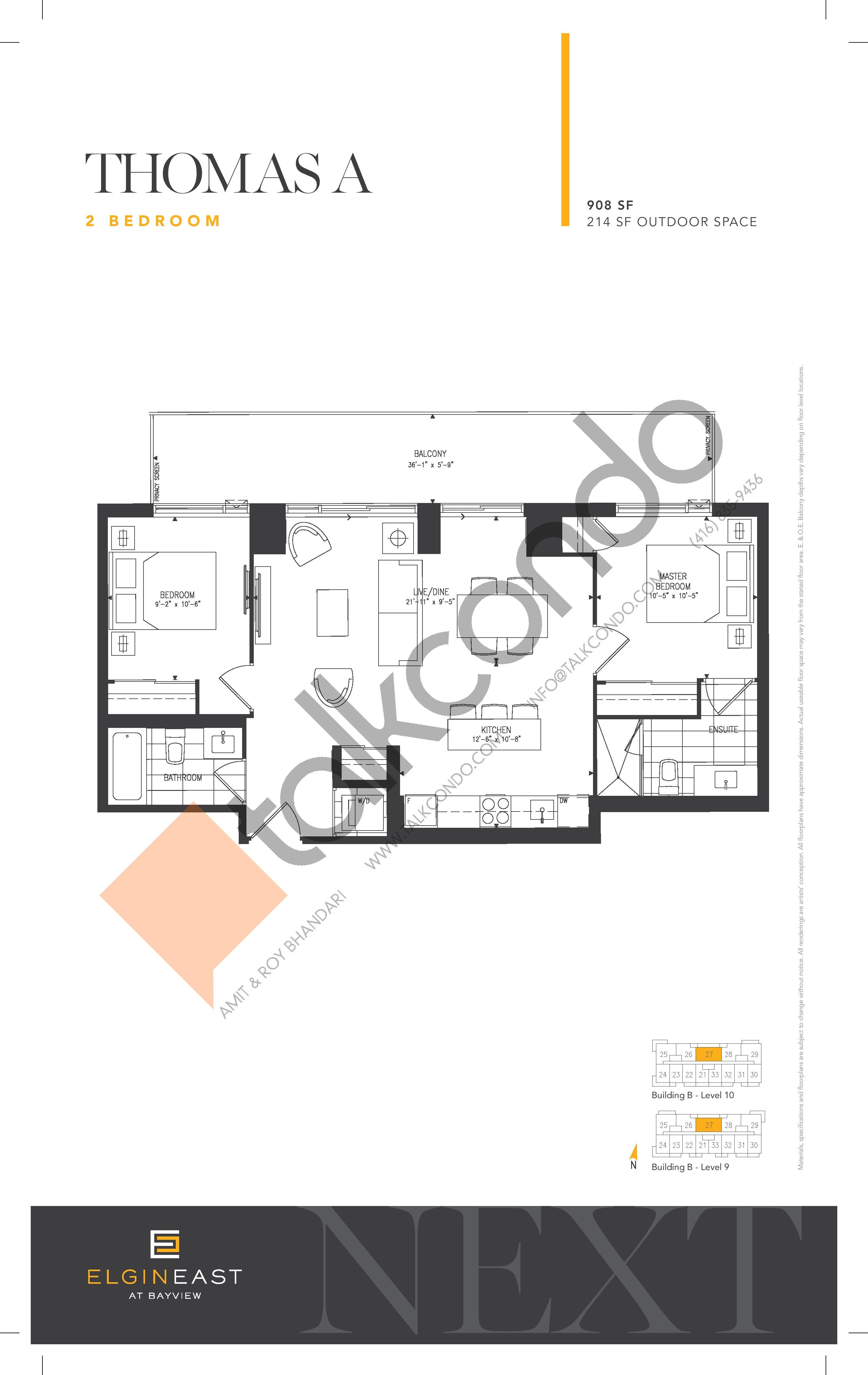 Thomas A Floor Plan at NEXT - Elgin East Phase 2 Condos - 908 sq.ft