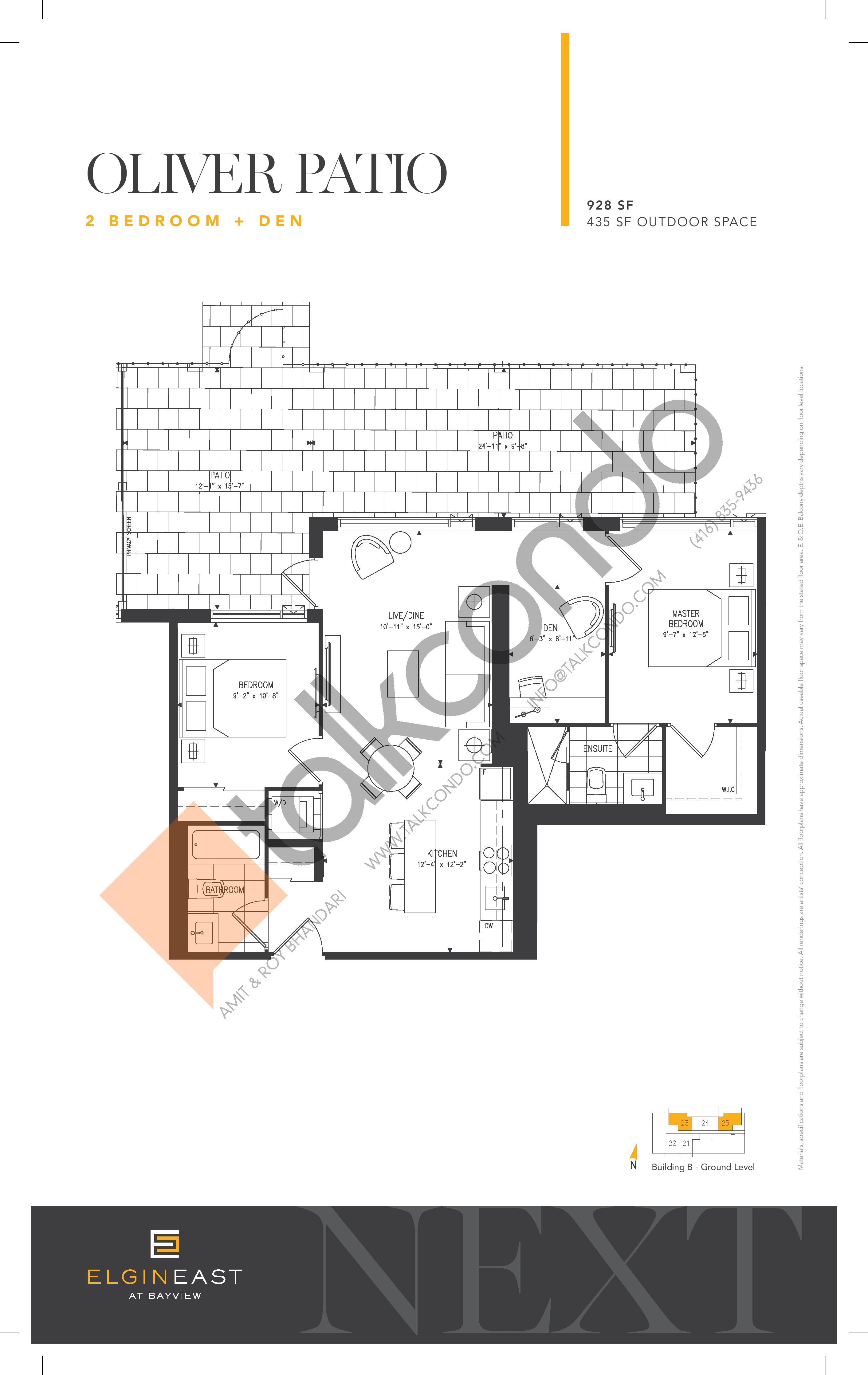 Oliver Patio Floor Plan at NEXT - Elgin East Phase 2 Condos - 928 sq.ft