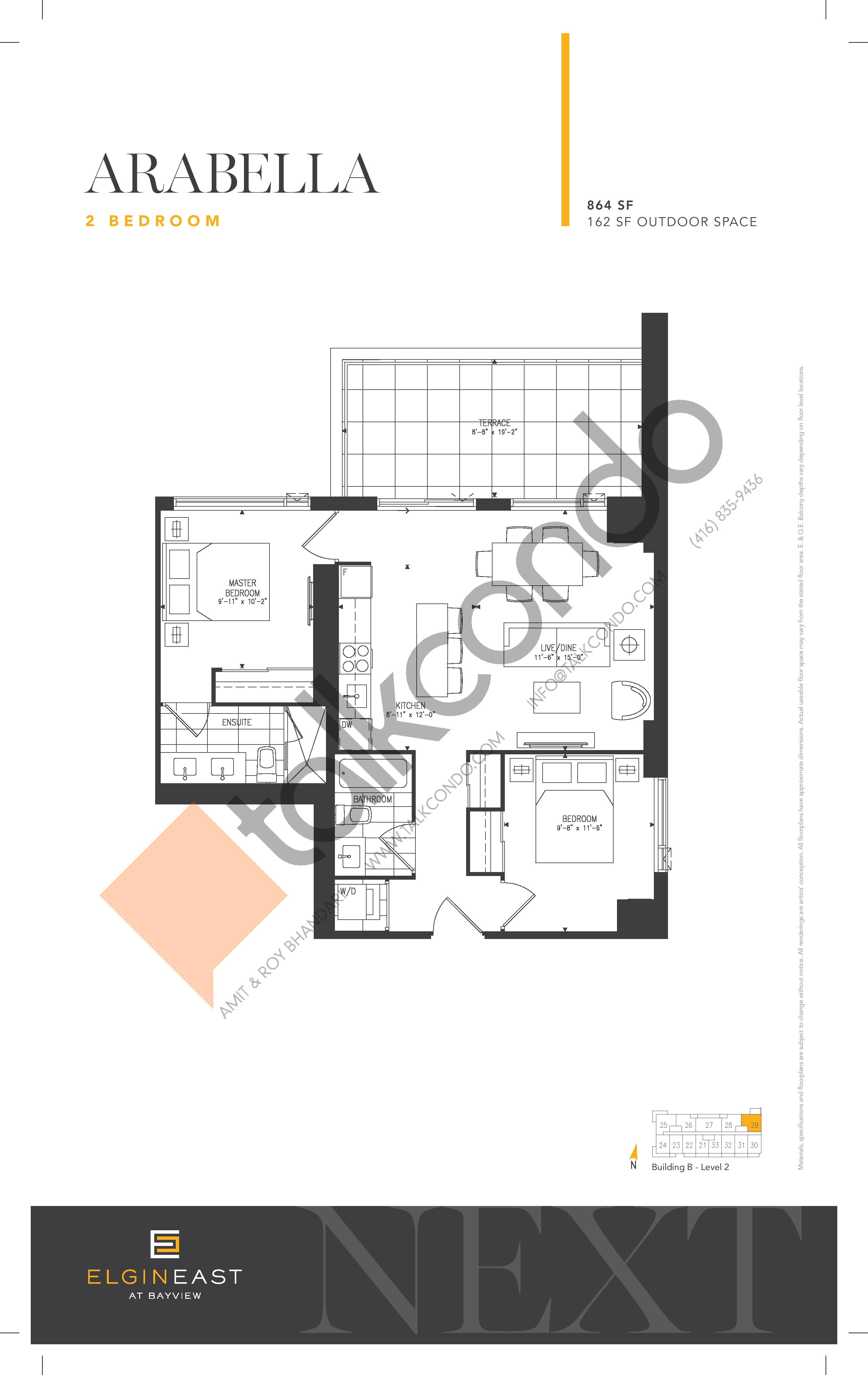 Arabella Floor Plan at NEXT - Elgin East Phase 2 Condos - 864 sq.ft