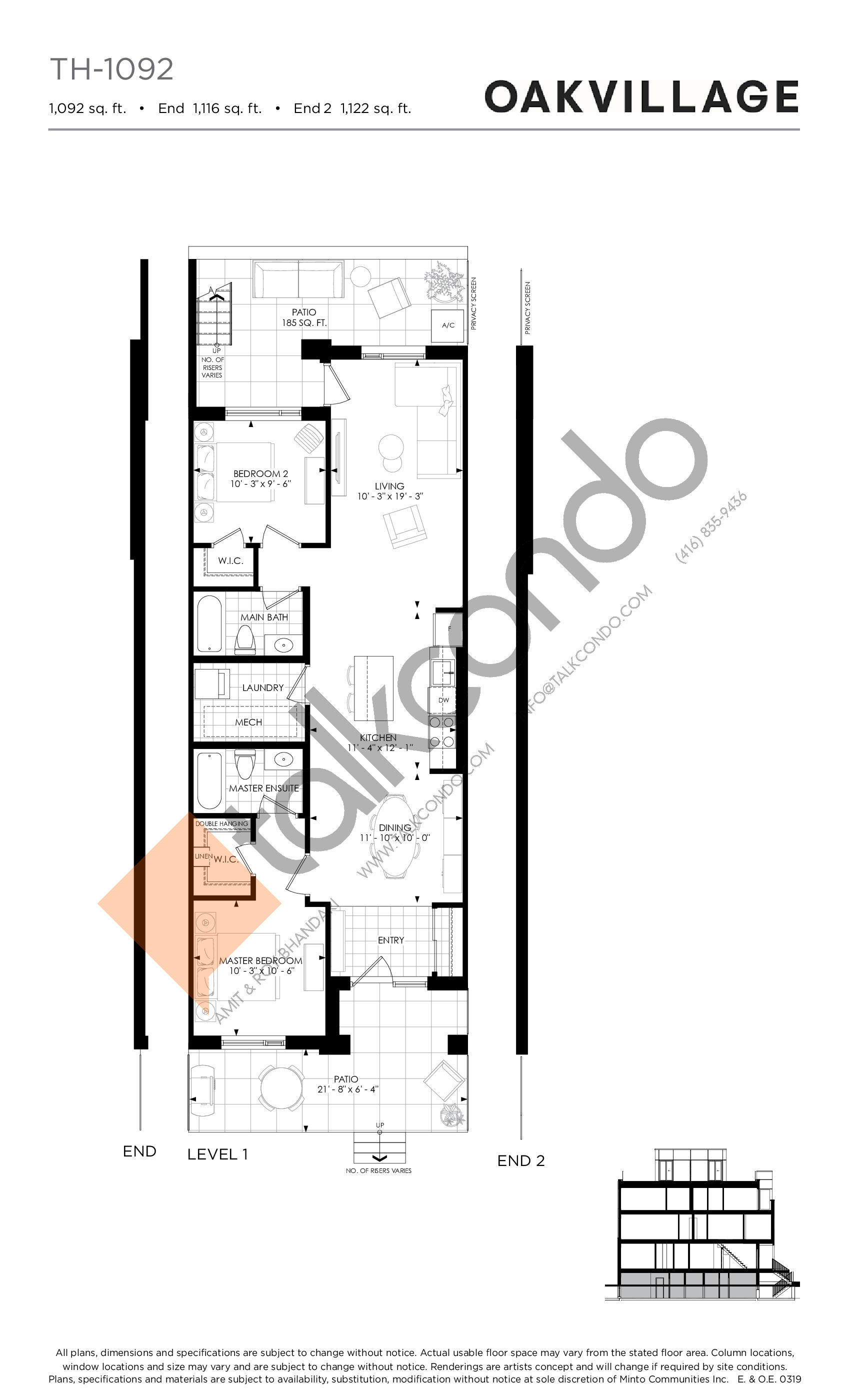 TH-1092 Floor Plan at Minto Oakvillage Condos 1 - 1092 sq.ft