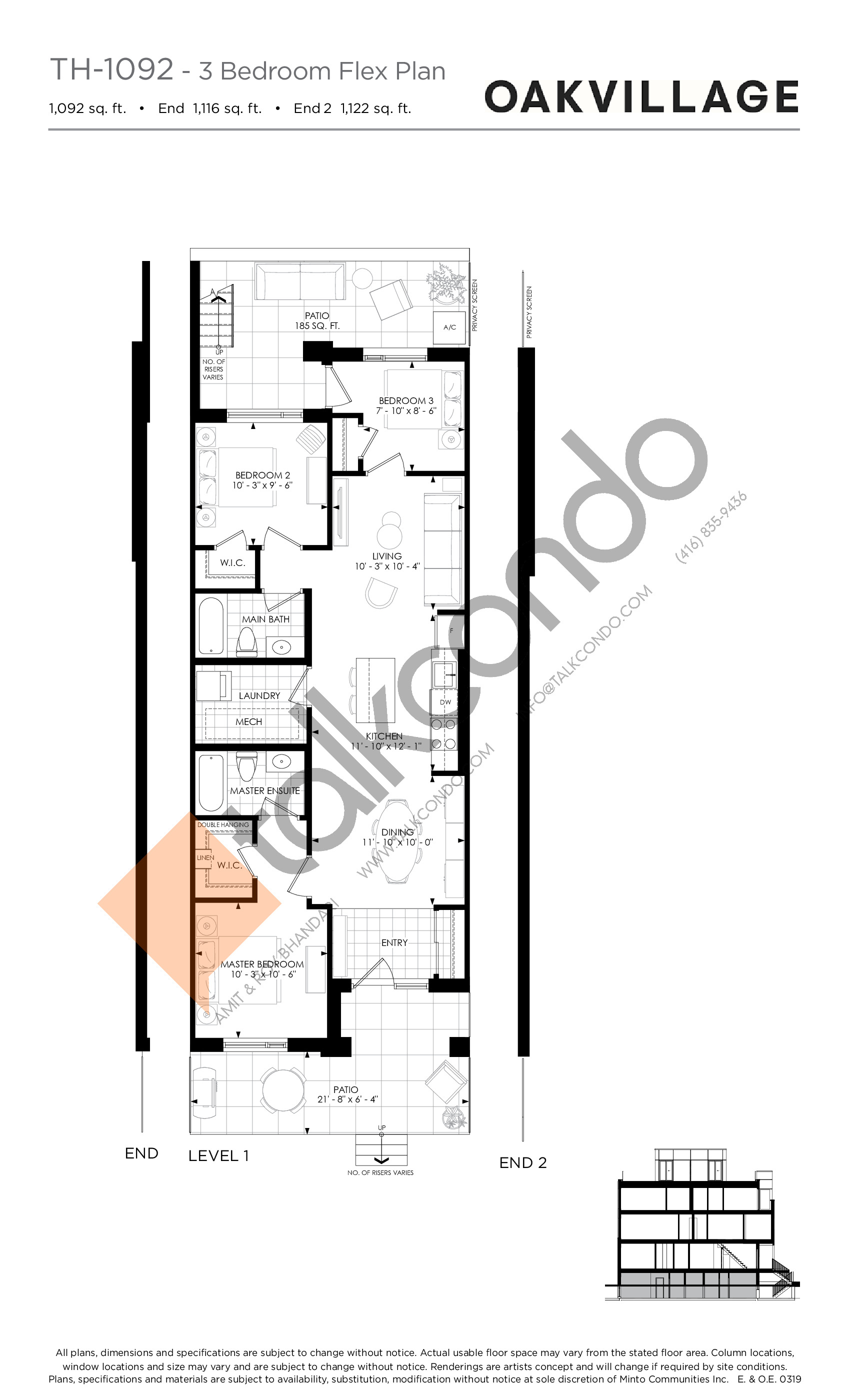 TH-1092 (3 Bed) Floor Plan at Minto Oakvillage Condos 1 - 1092 sq.ft