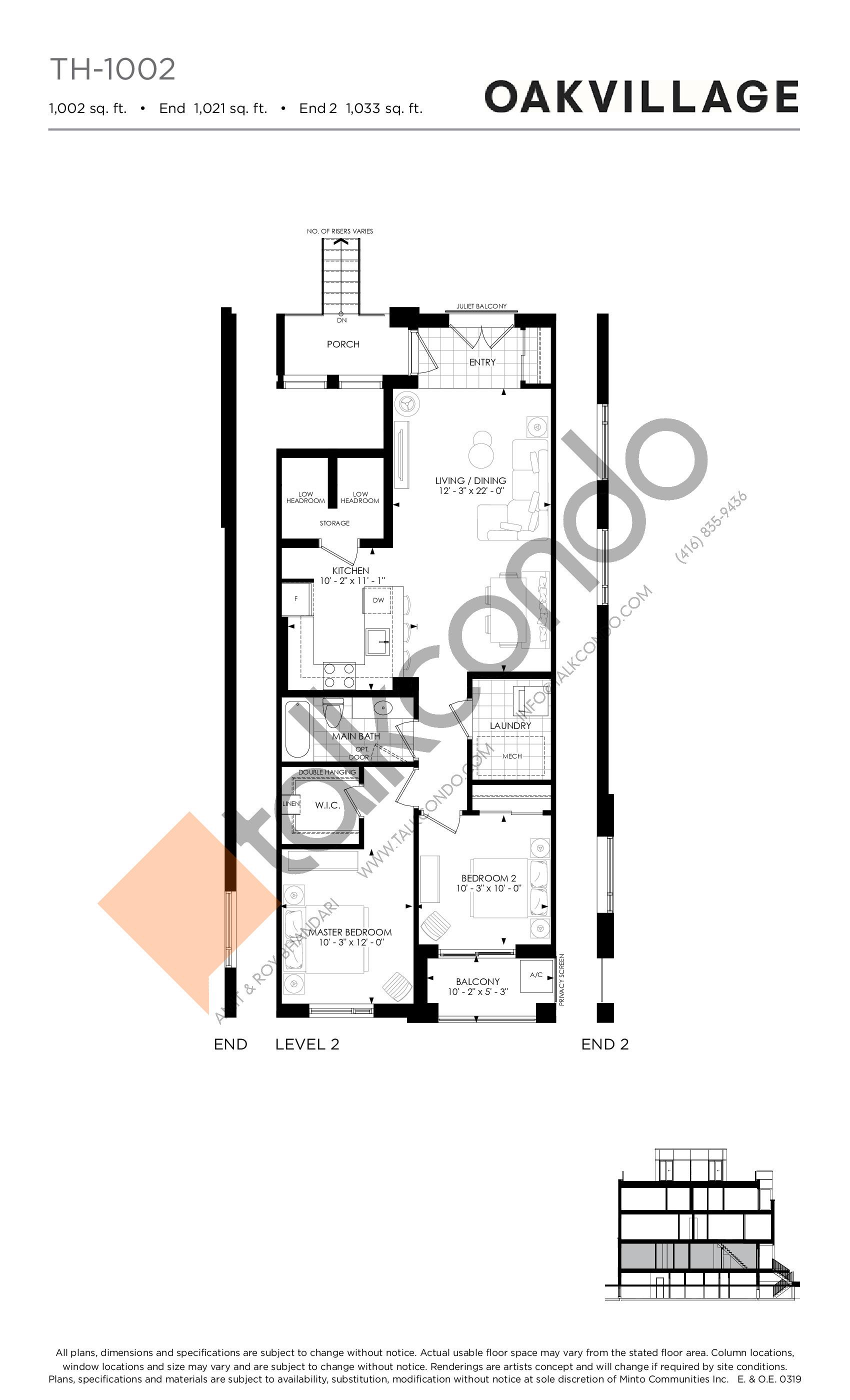 TH-1002 Floor Plan at Minto Oakvillage Condos 1 - 1002 sq.ft