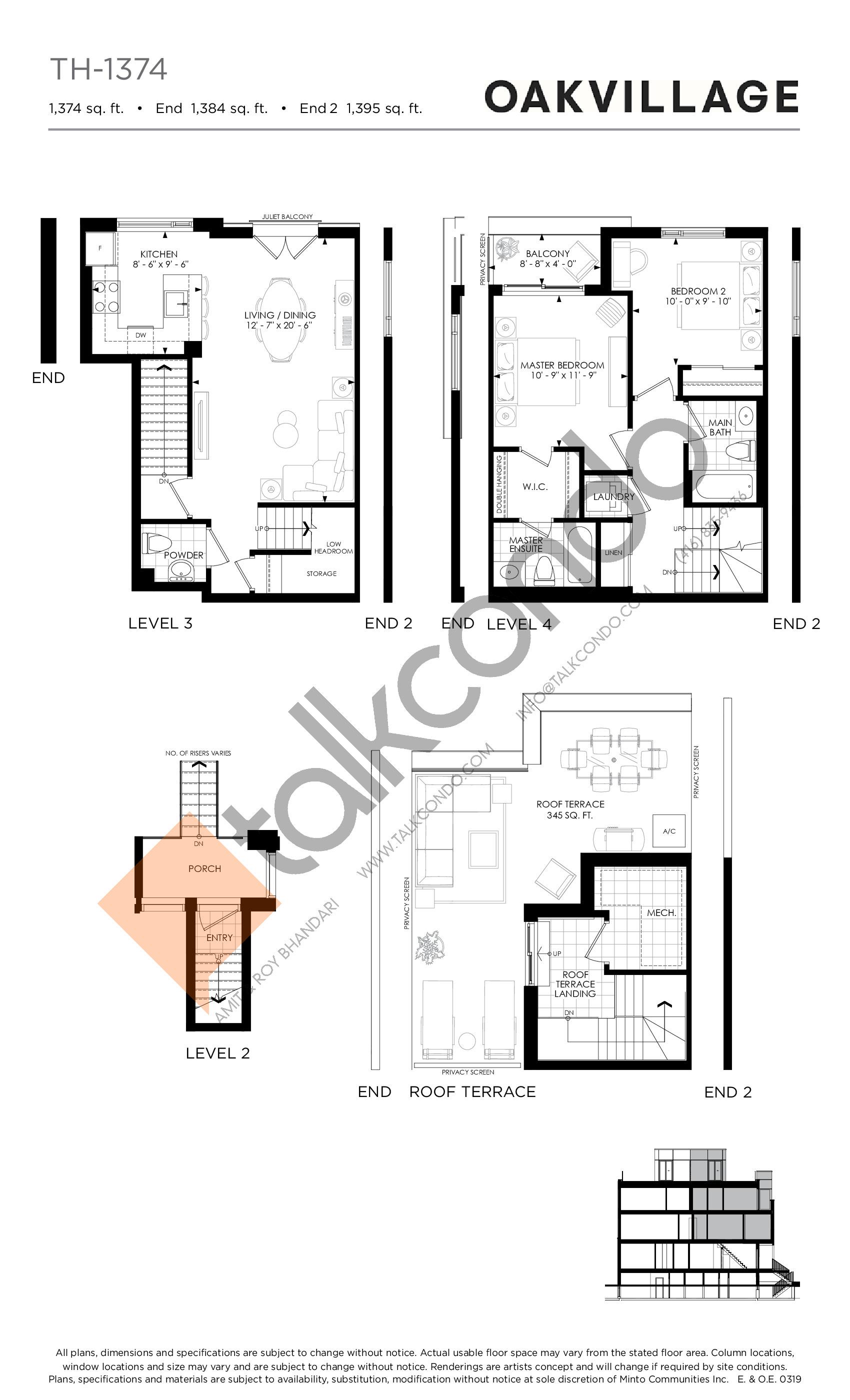 TH-1374 Floor Plan at Minto Oakvillage Condos 1 - 1374 sq.ft