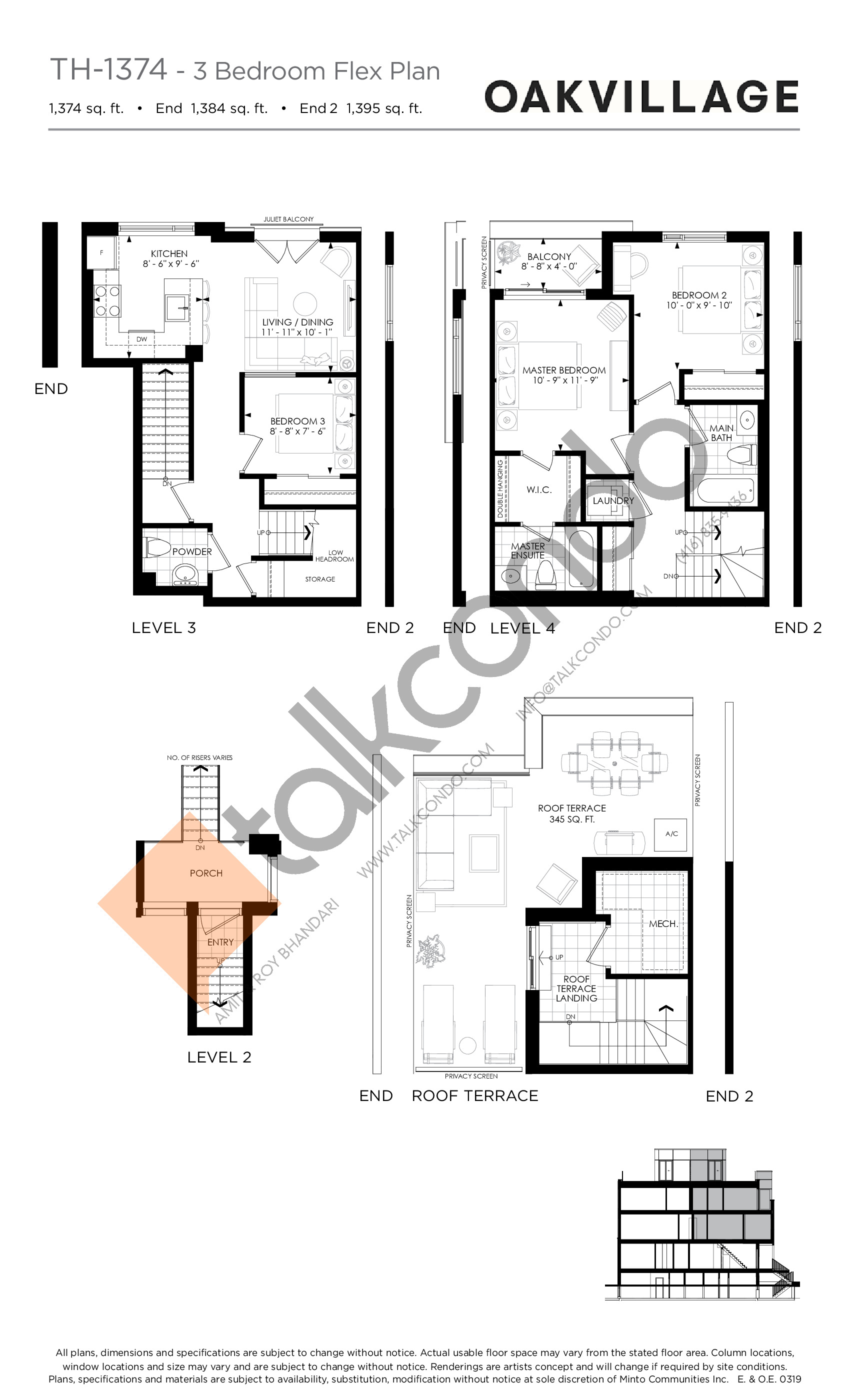 TH-1374 (3 Bed) Floor Plan at Minto Oakvillage Condos 1 - 1374 sq.ft
