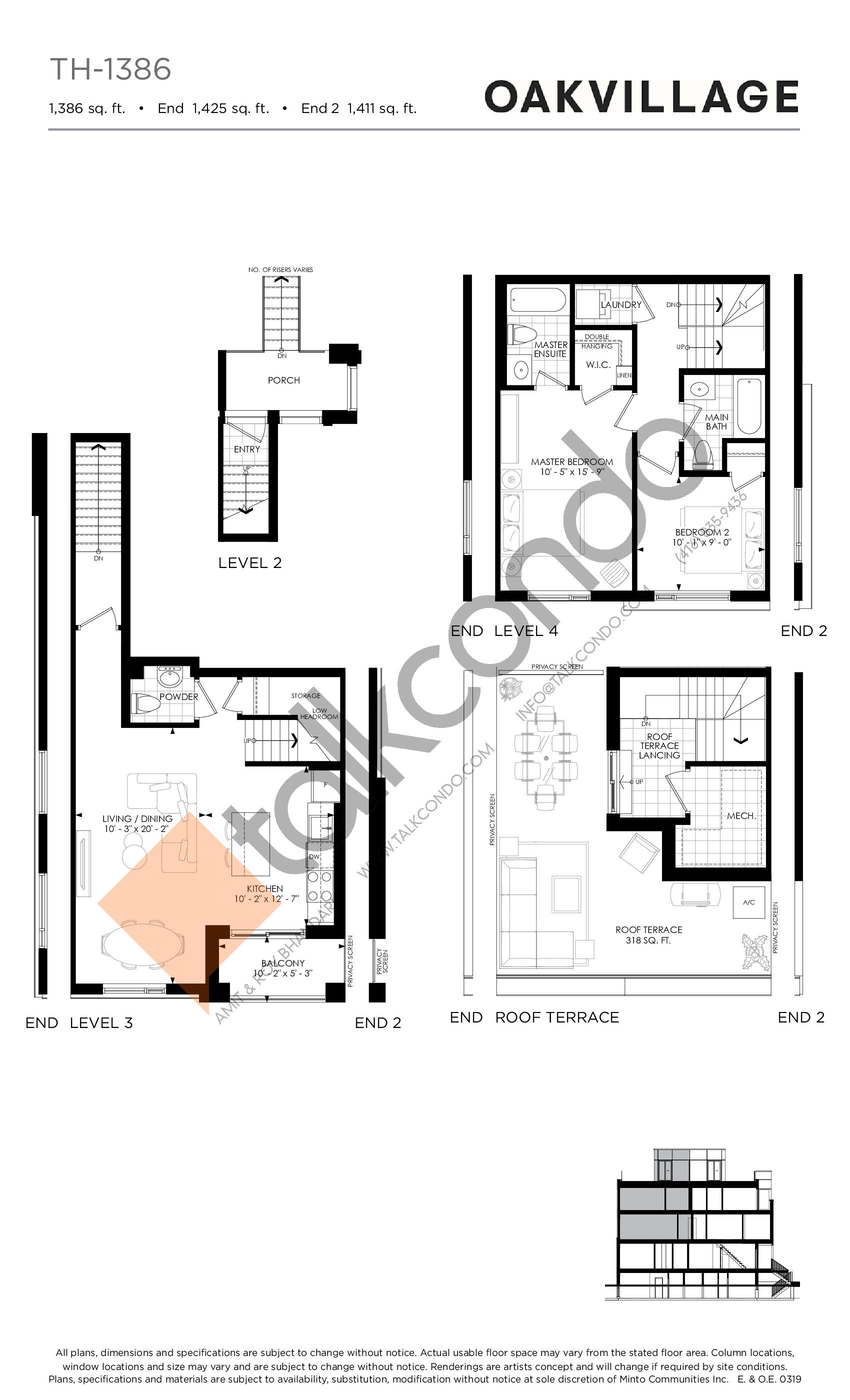 TH-1386 Floor Plan at Minto Oakvillage Condos 1 - 1386 sq.ft