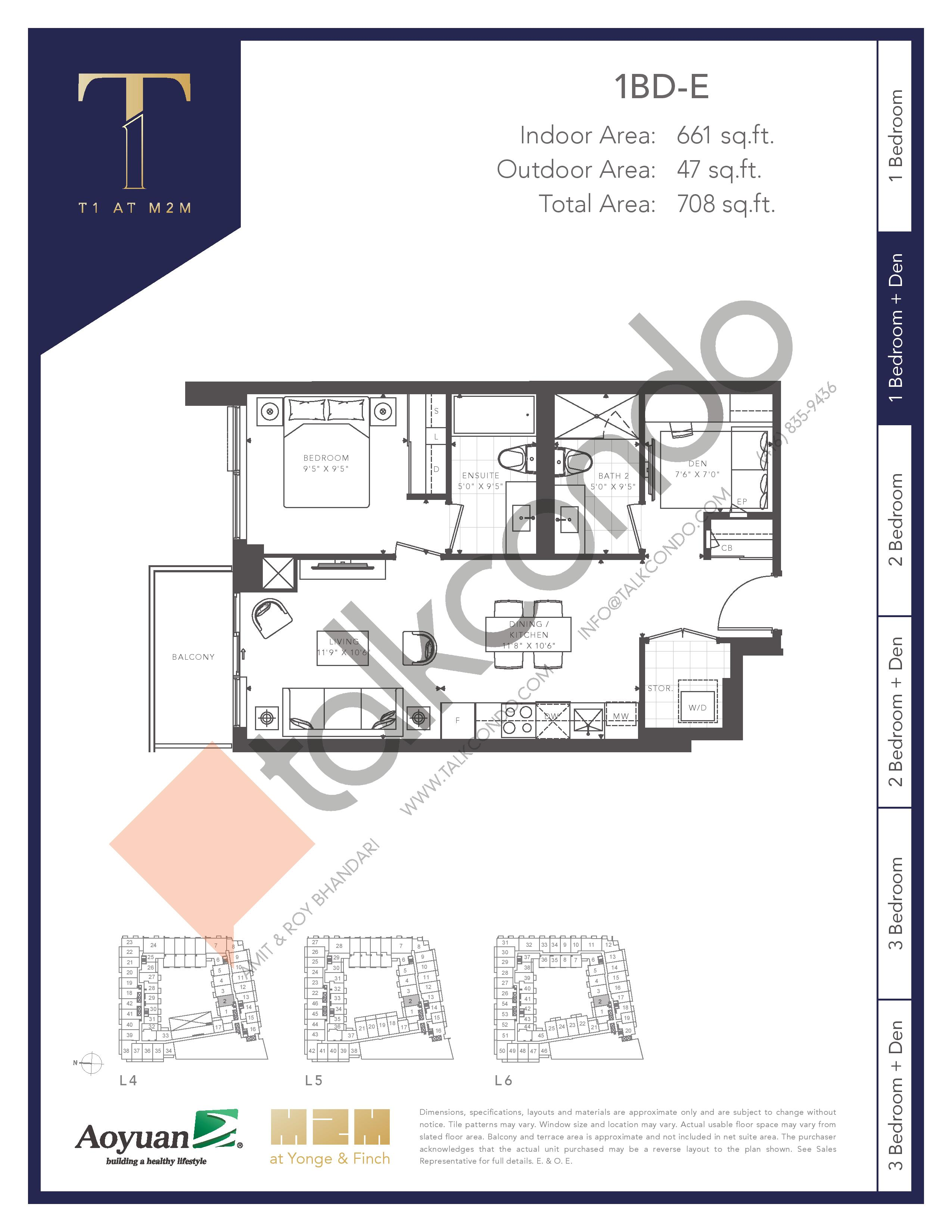 1BD-E (Tower) Floor Plan at T1 at M2M Condos - 661 sq.ft
