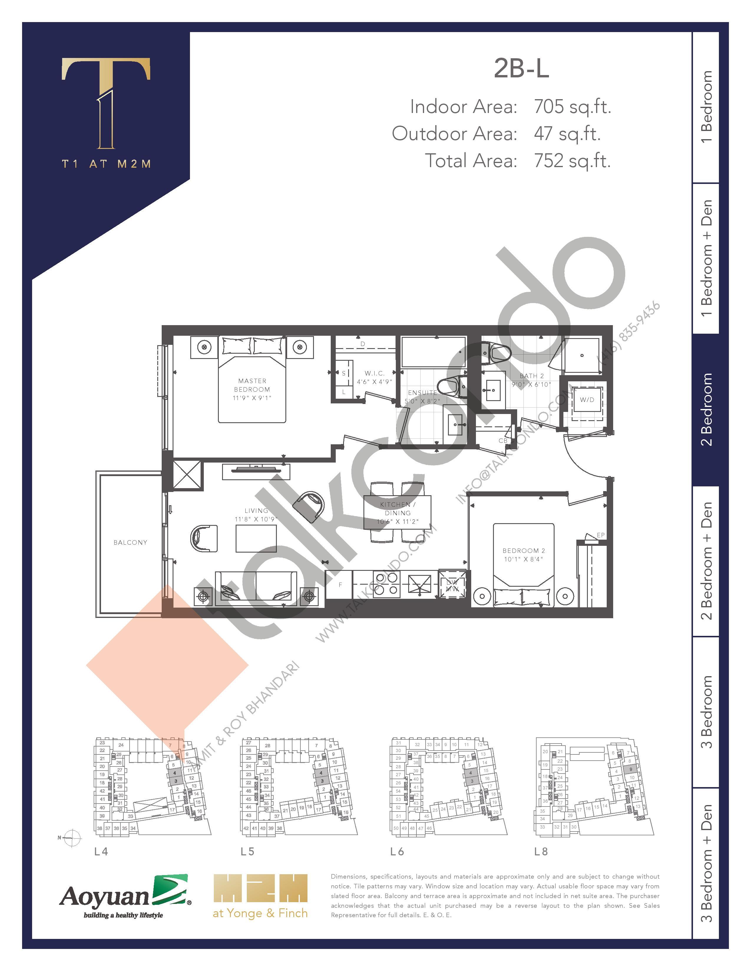2B-L (Tower) Floor Plan at T1 at M2M Condos - 705 sq.ft