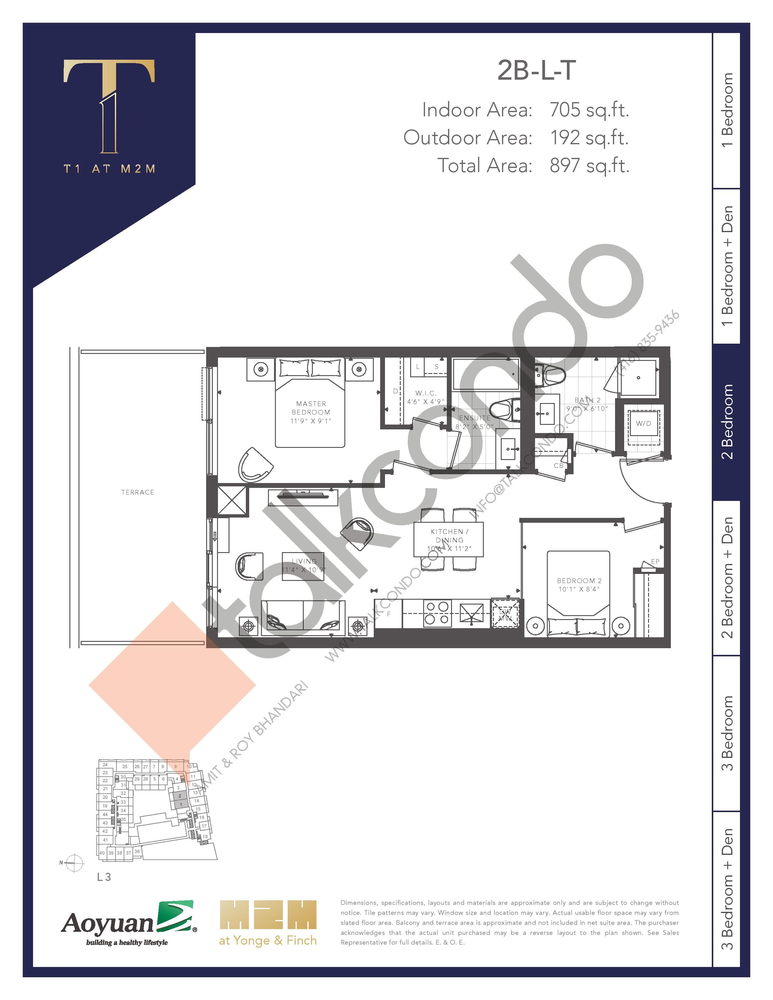 2B-L-T (Tower) Floor Plan at T1 at M2M Condos - 705 sq.ft